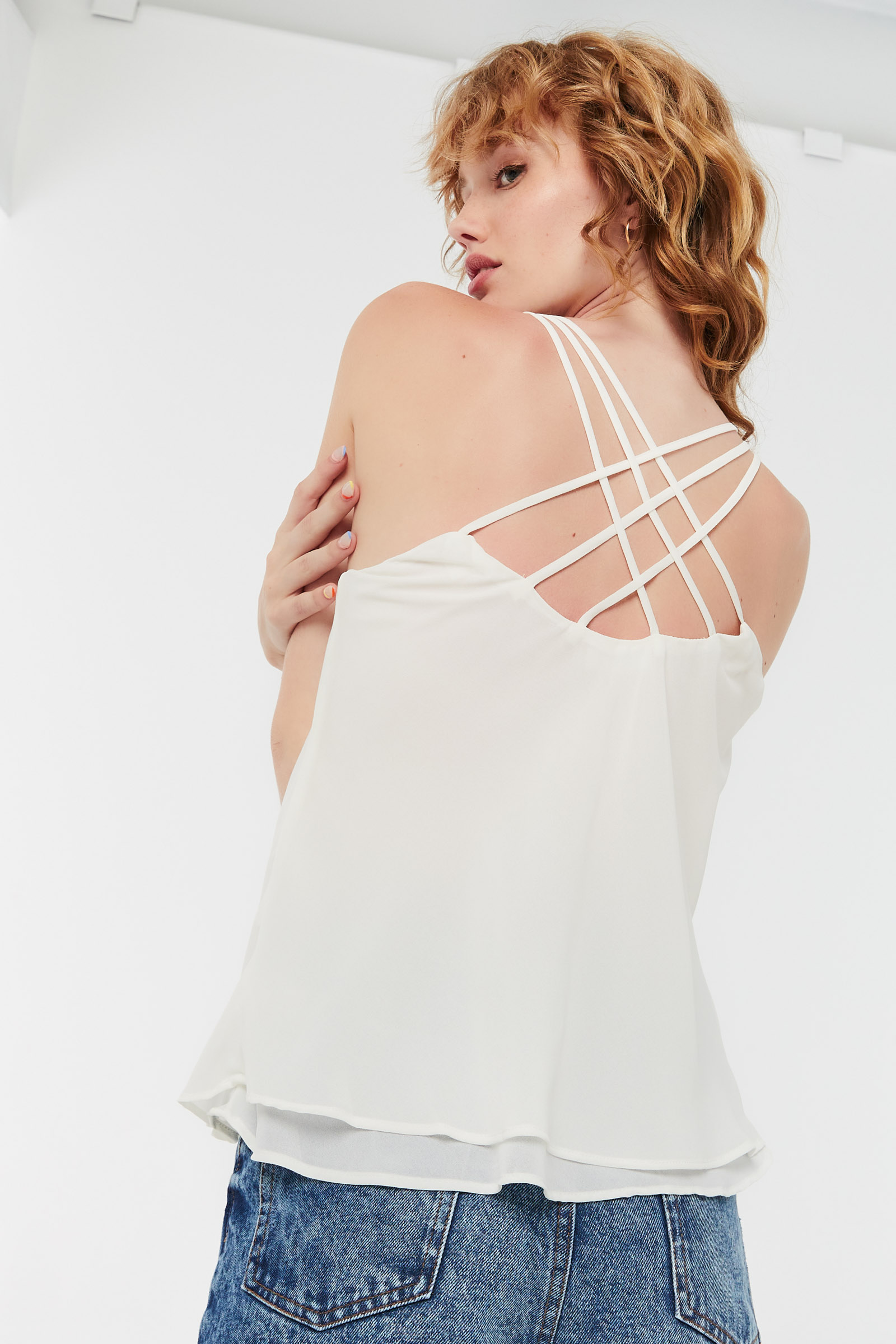 Long Tank Top with Multiple Straps