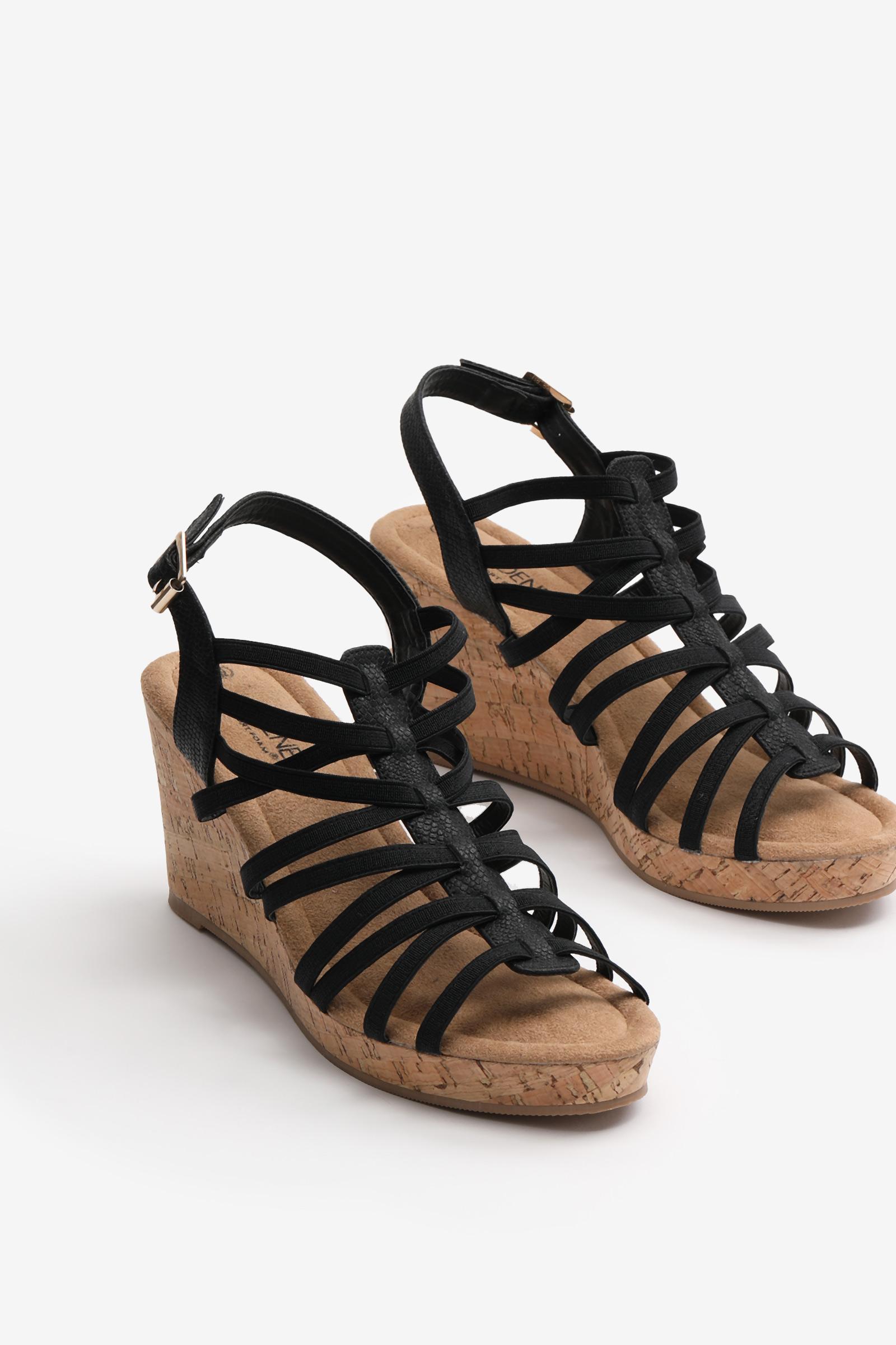 Cork Wedge Strappy Sandals