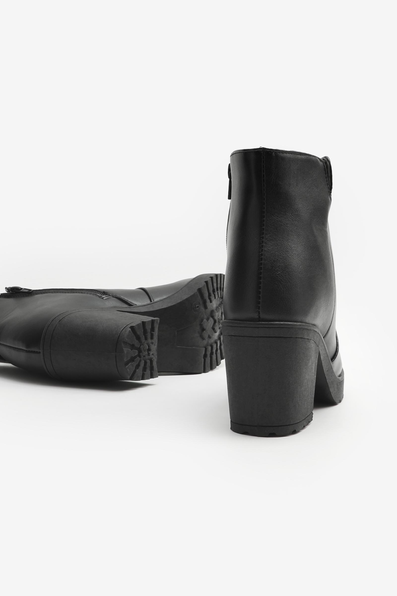 Bloc Heel Booties with Slit Detail