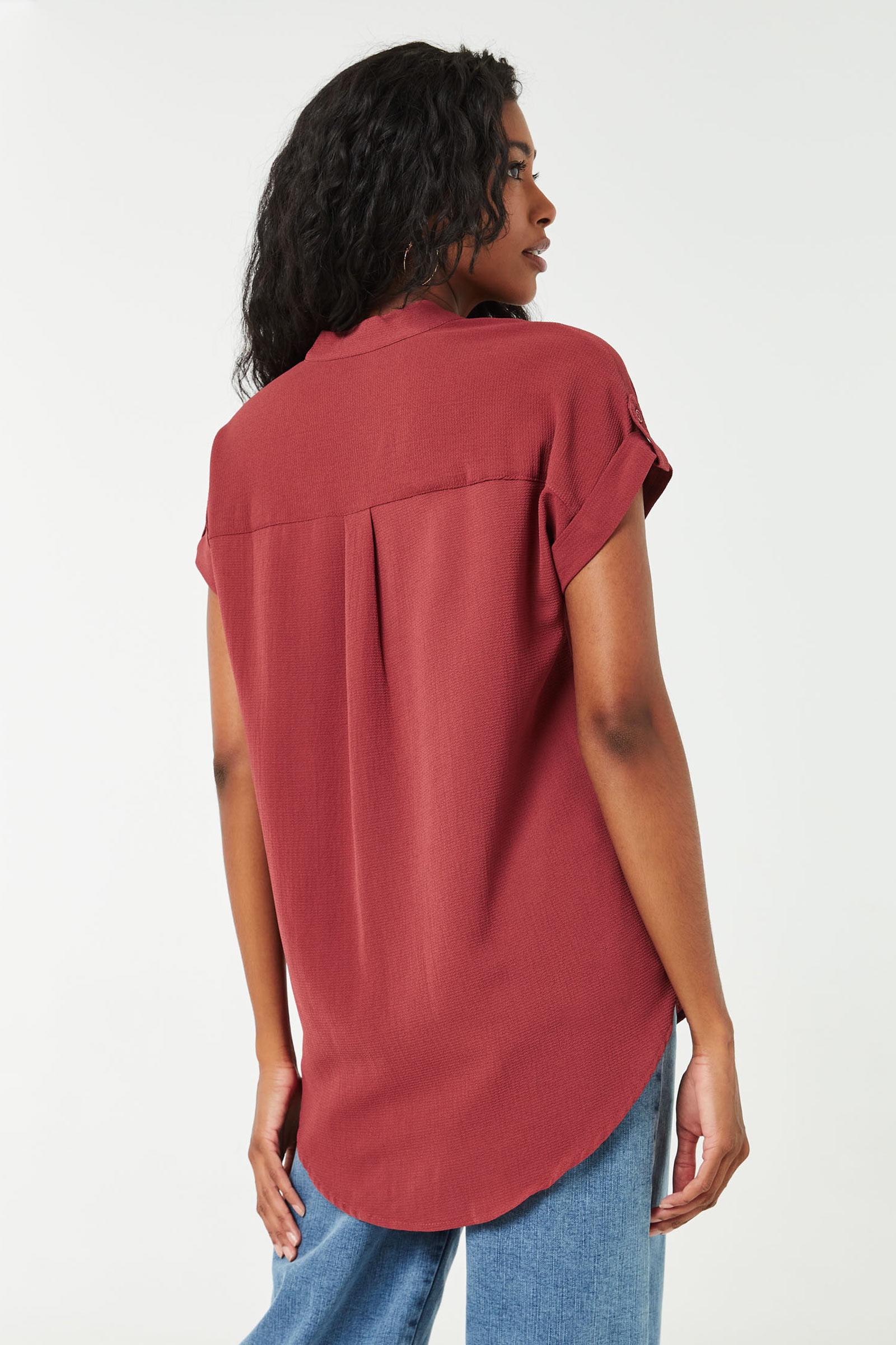 Chemise longue boutonnée à col mao