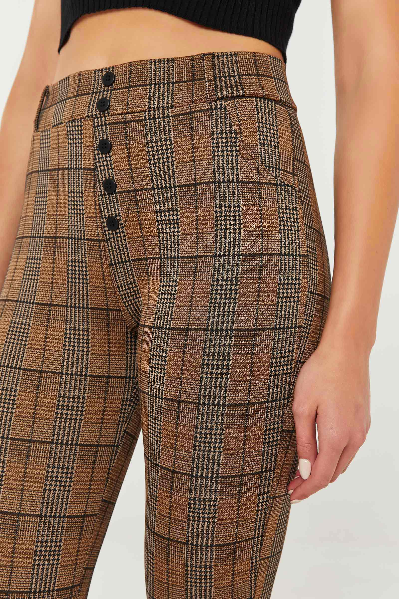 Glen Plaid Leggings with Buttons