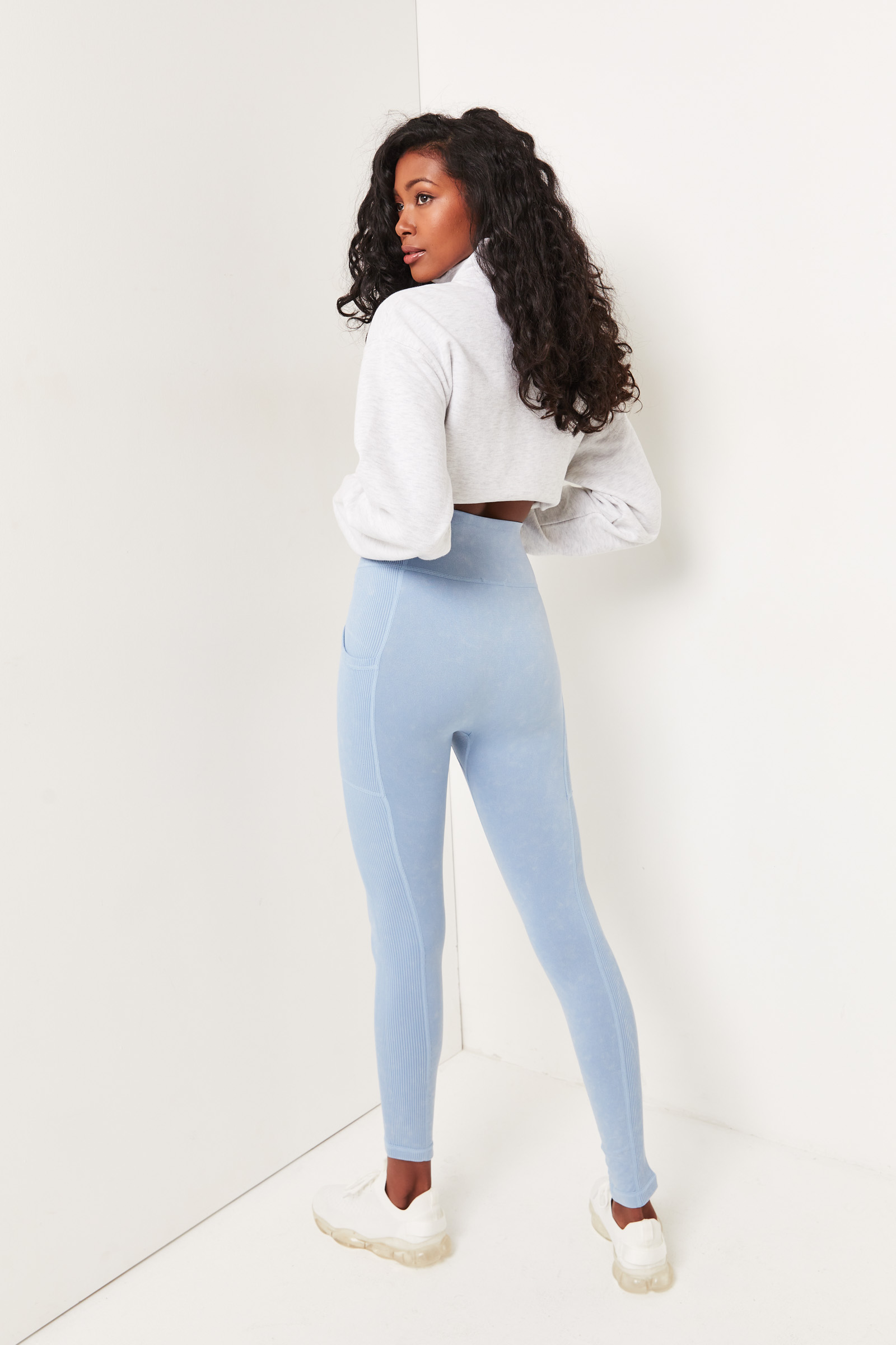 Washed Seamless Leggings with Ribbed Inserts