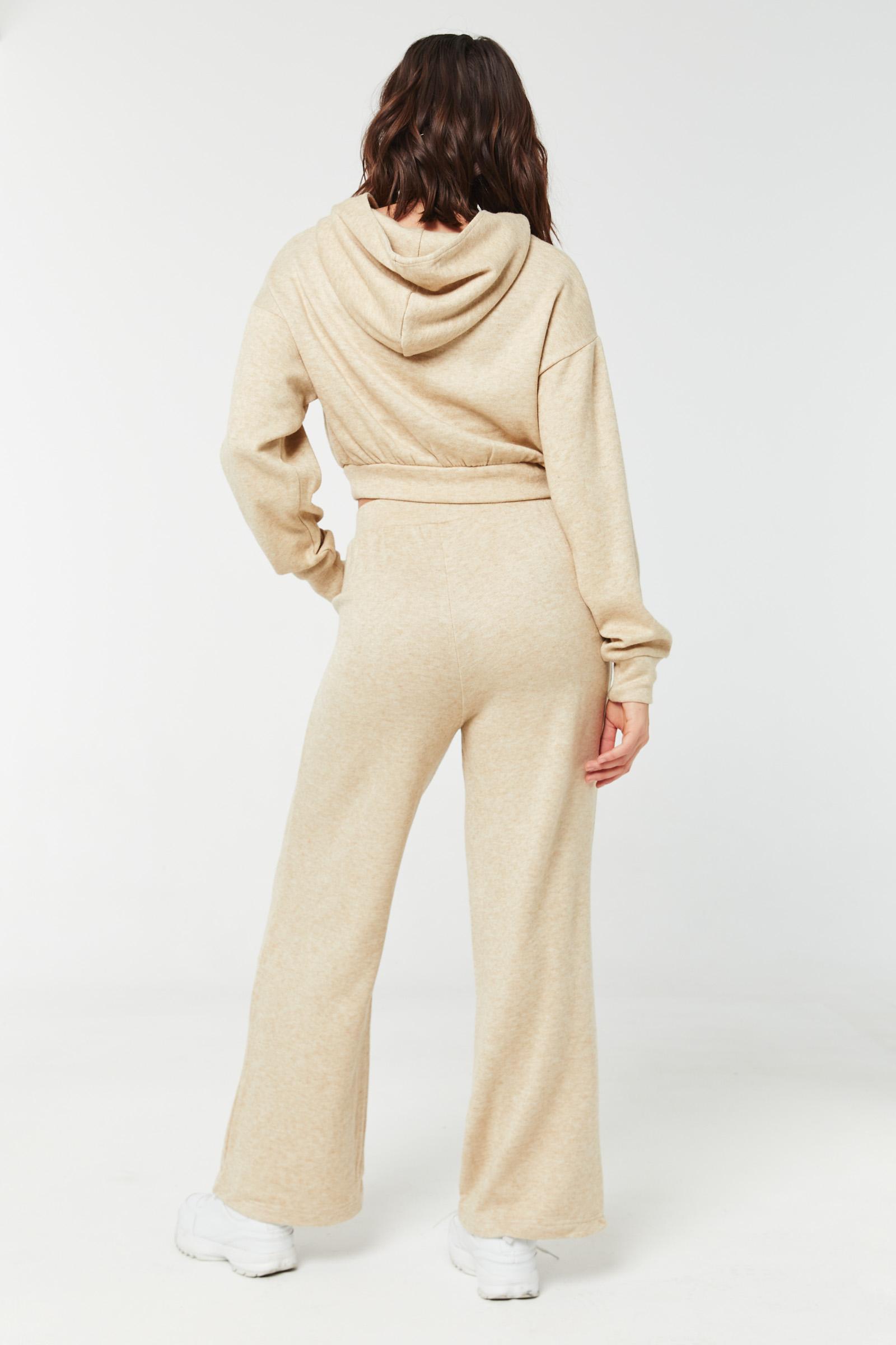 Pantalon slip-on jambe large en tricot épais