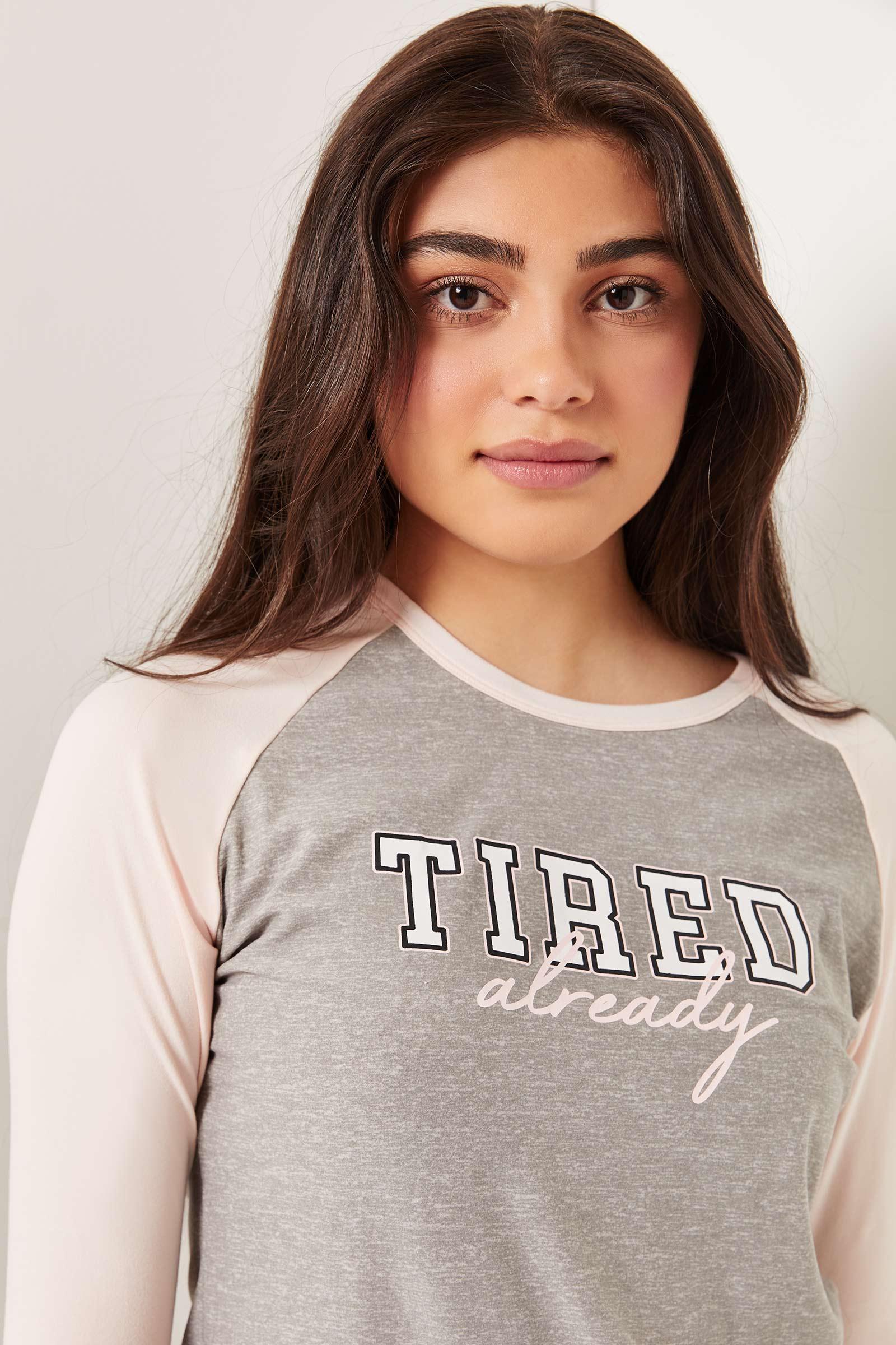 T-shirt pyjama raglan à slogan