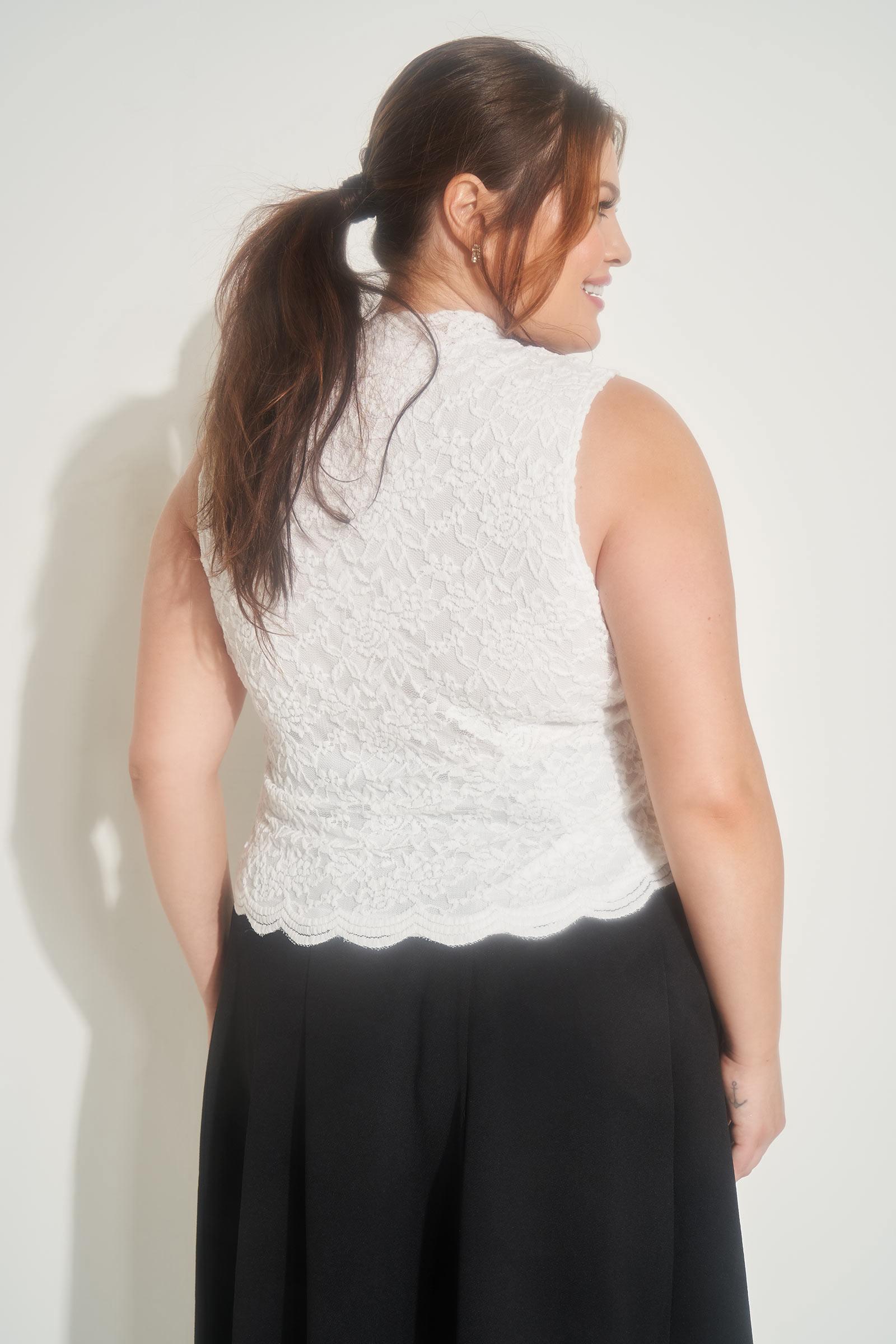Plus Size Mock Neck Lace Top