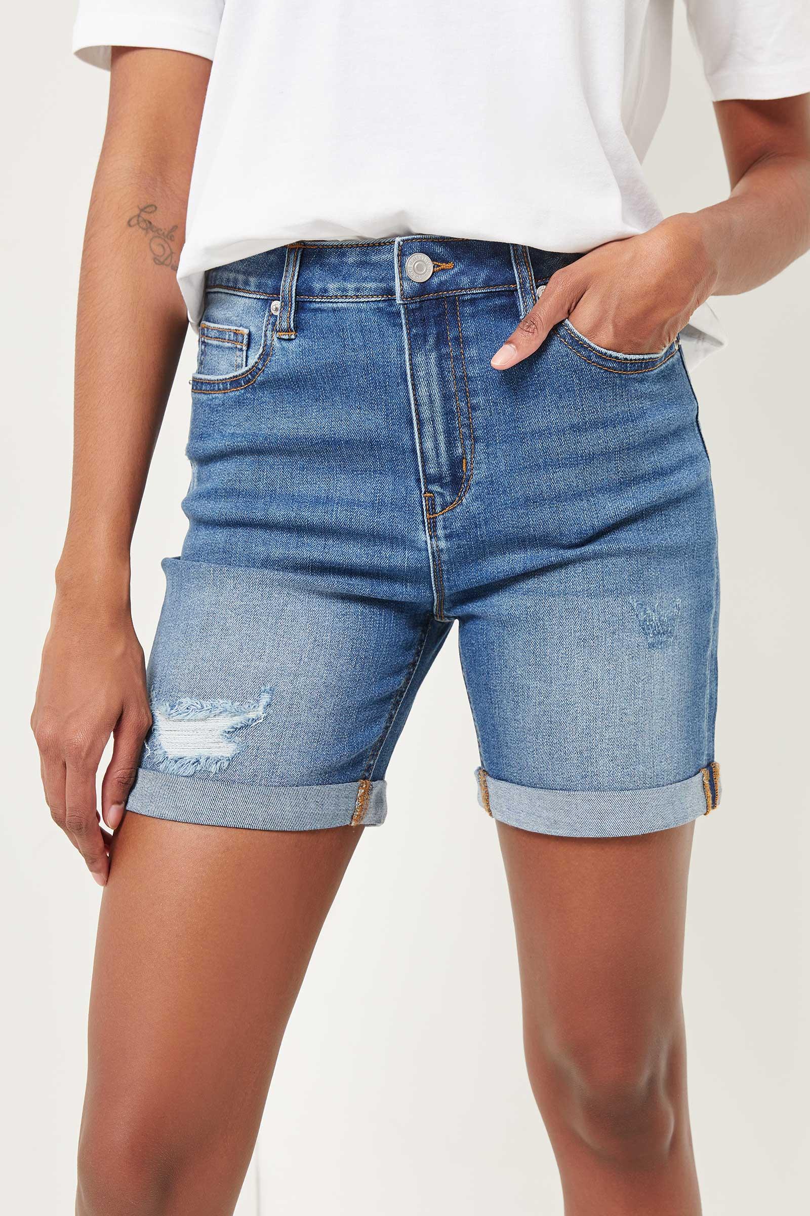 Recycled Ripped Bermuda Shorts