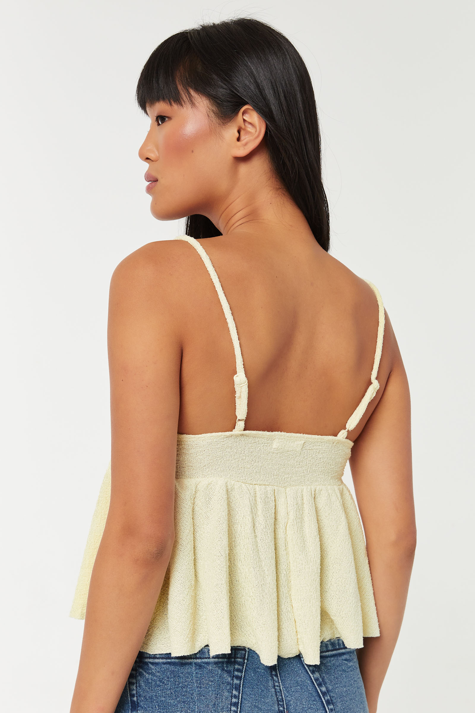 Peplum Crop Tank Top with knotted Bust