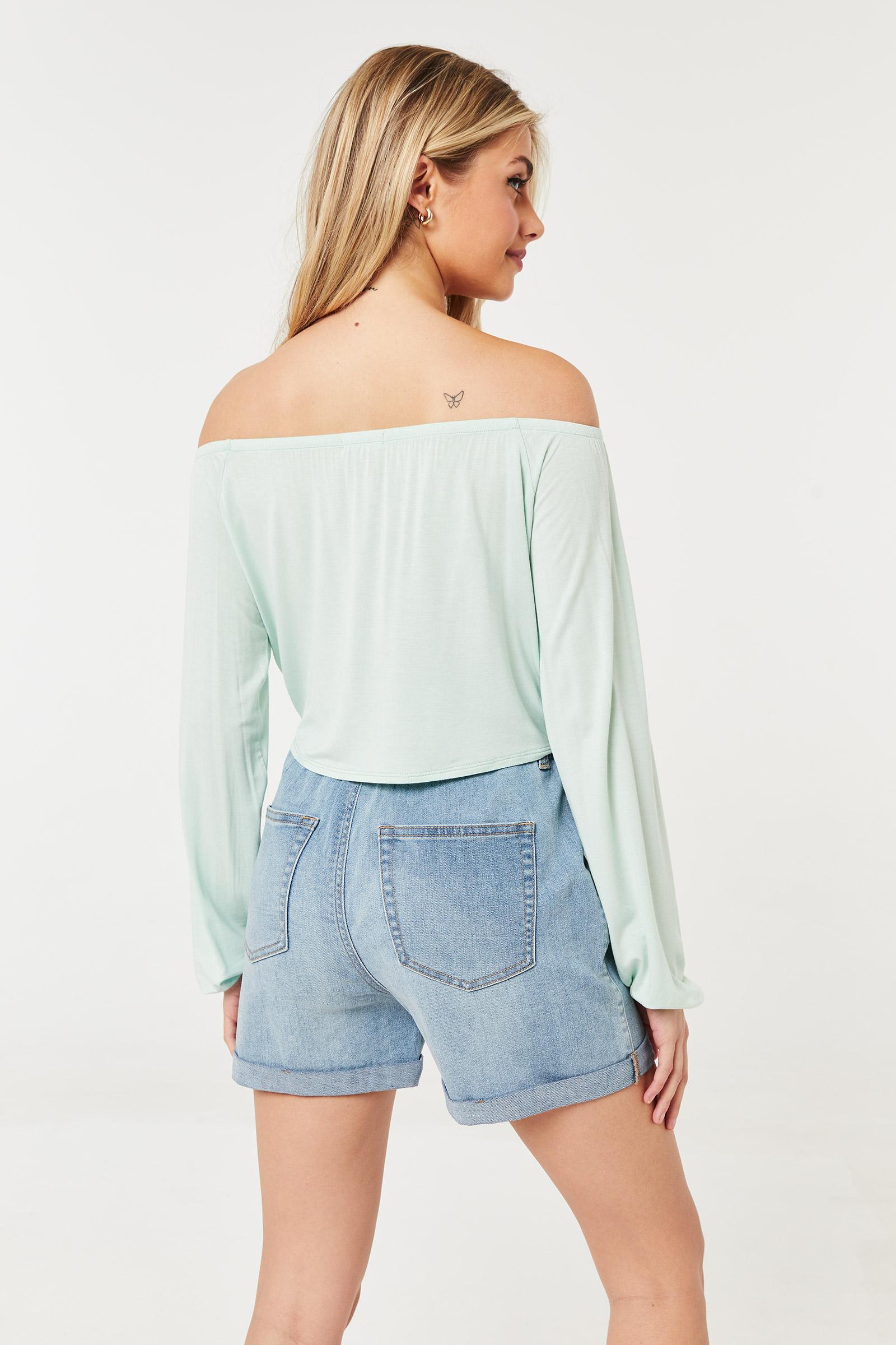 Off Shoulder Sage Long-sleeved Top