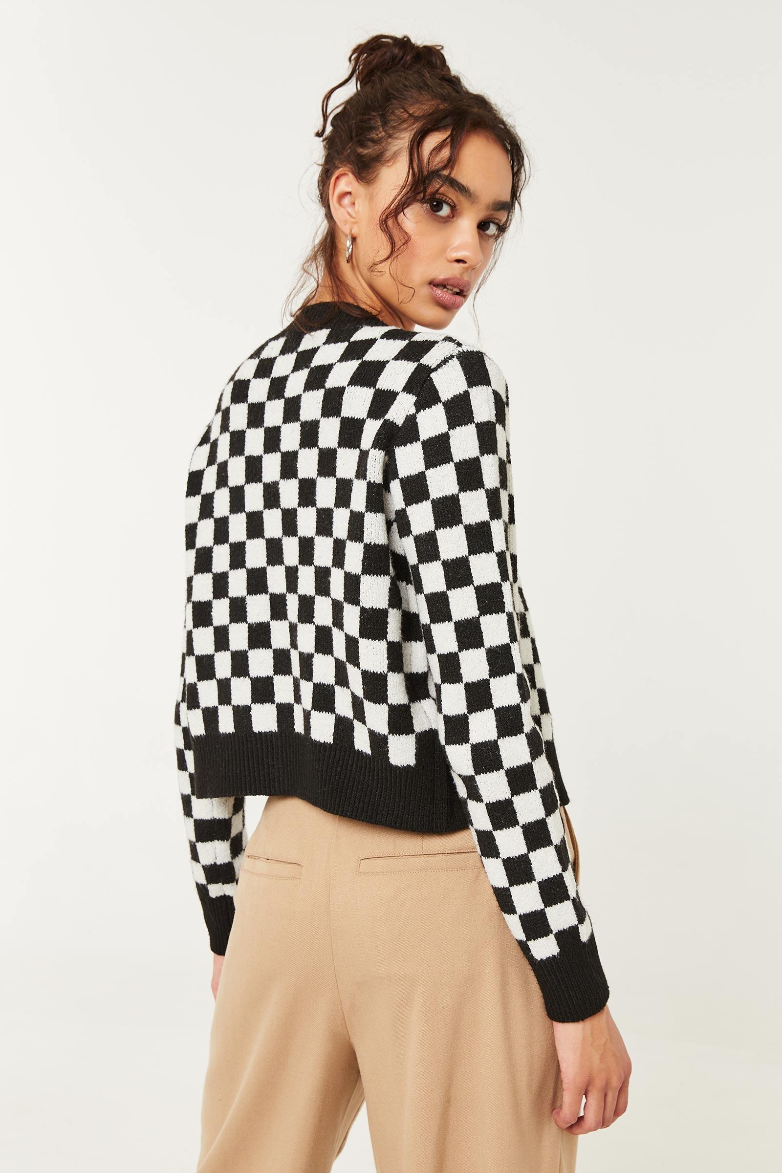Checkered Short V-Neck Cardigan
