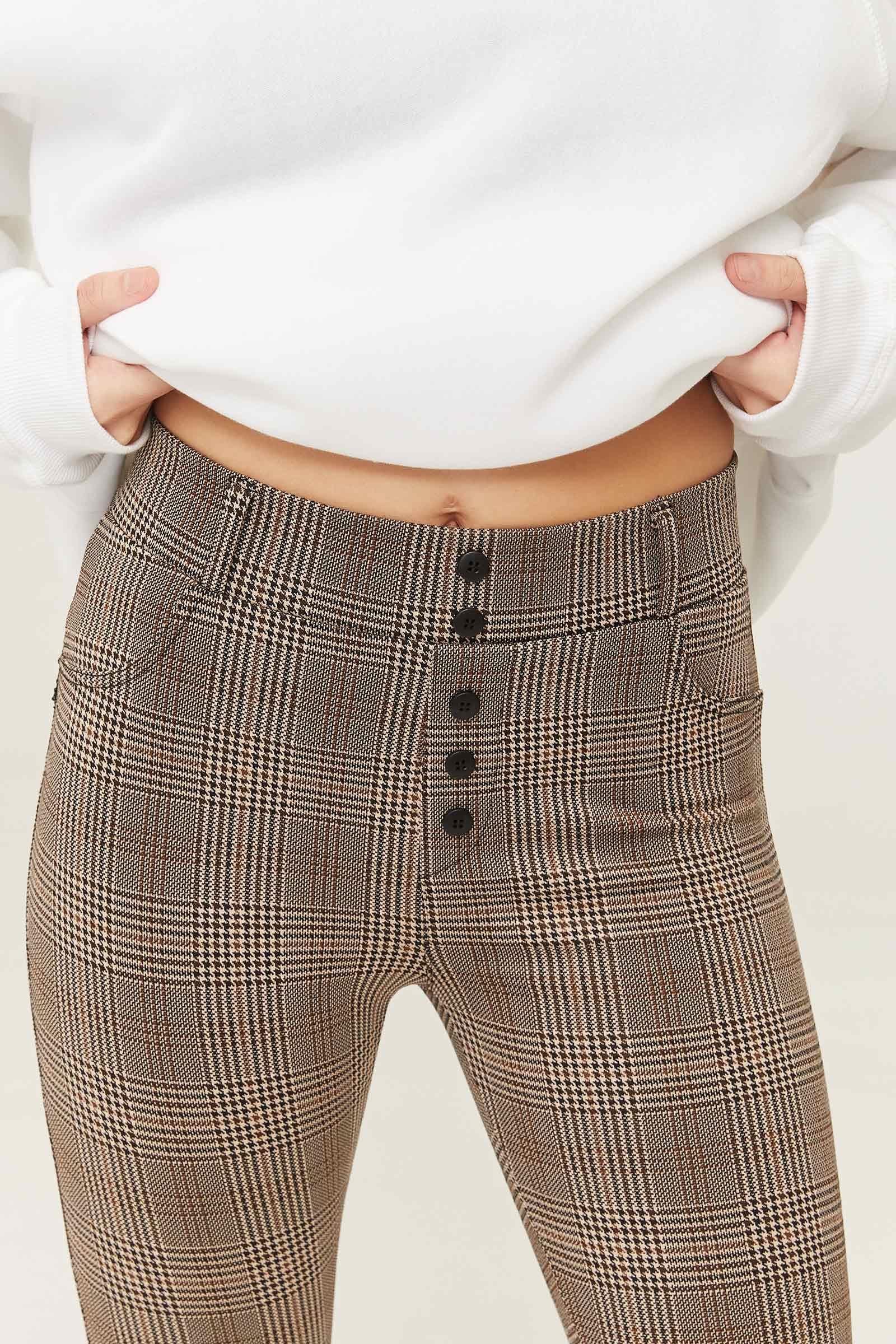 Buttoned Plaid Leggings