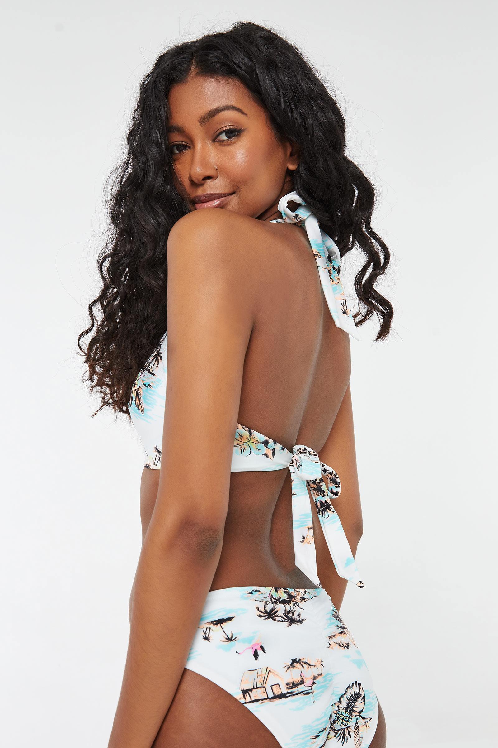 Tropical Triangle Halter Bikini Top