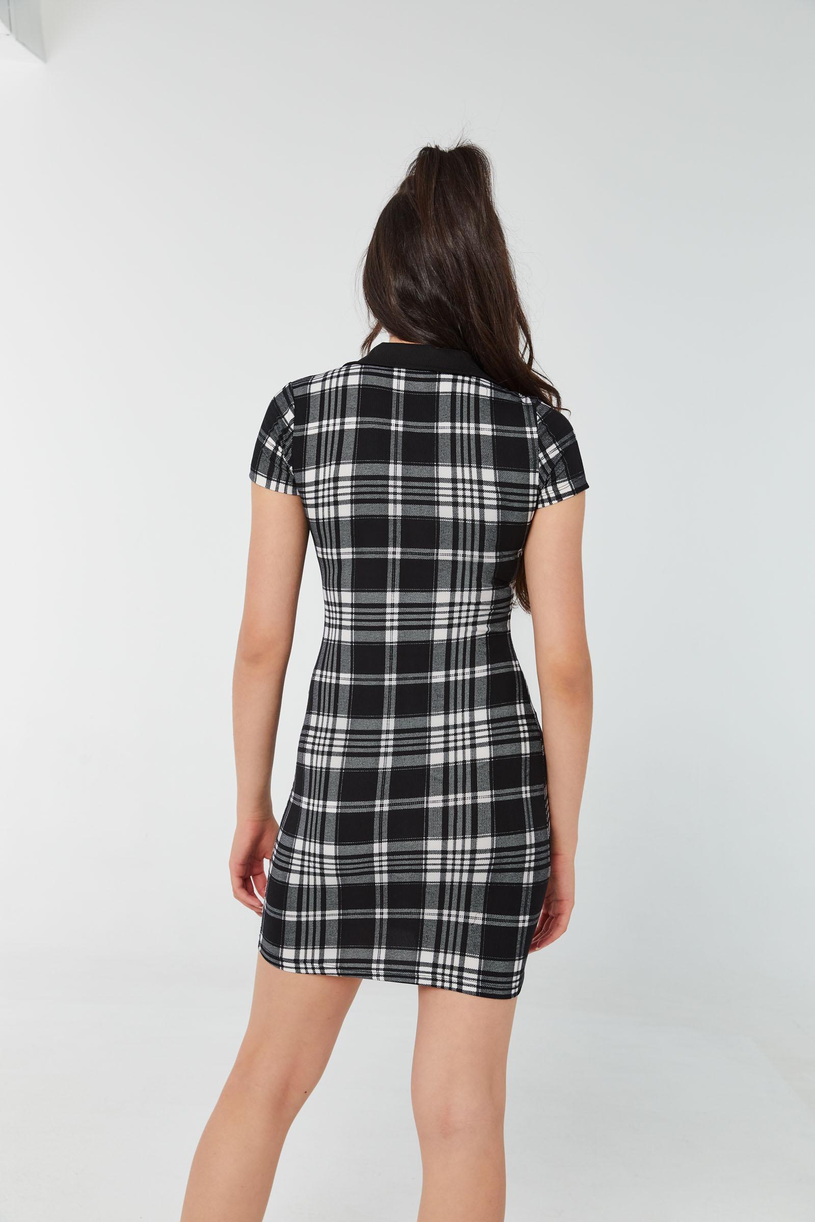 Plaid Ribbed Polo Dress