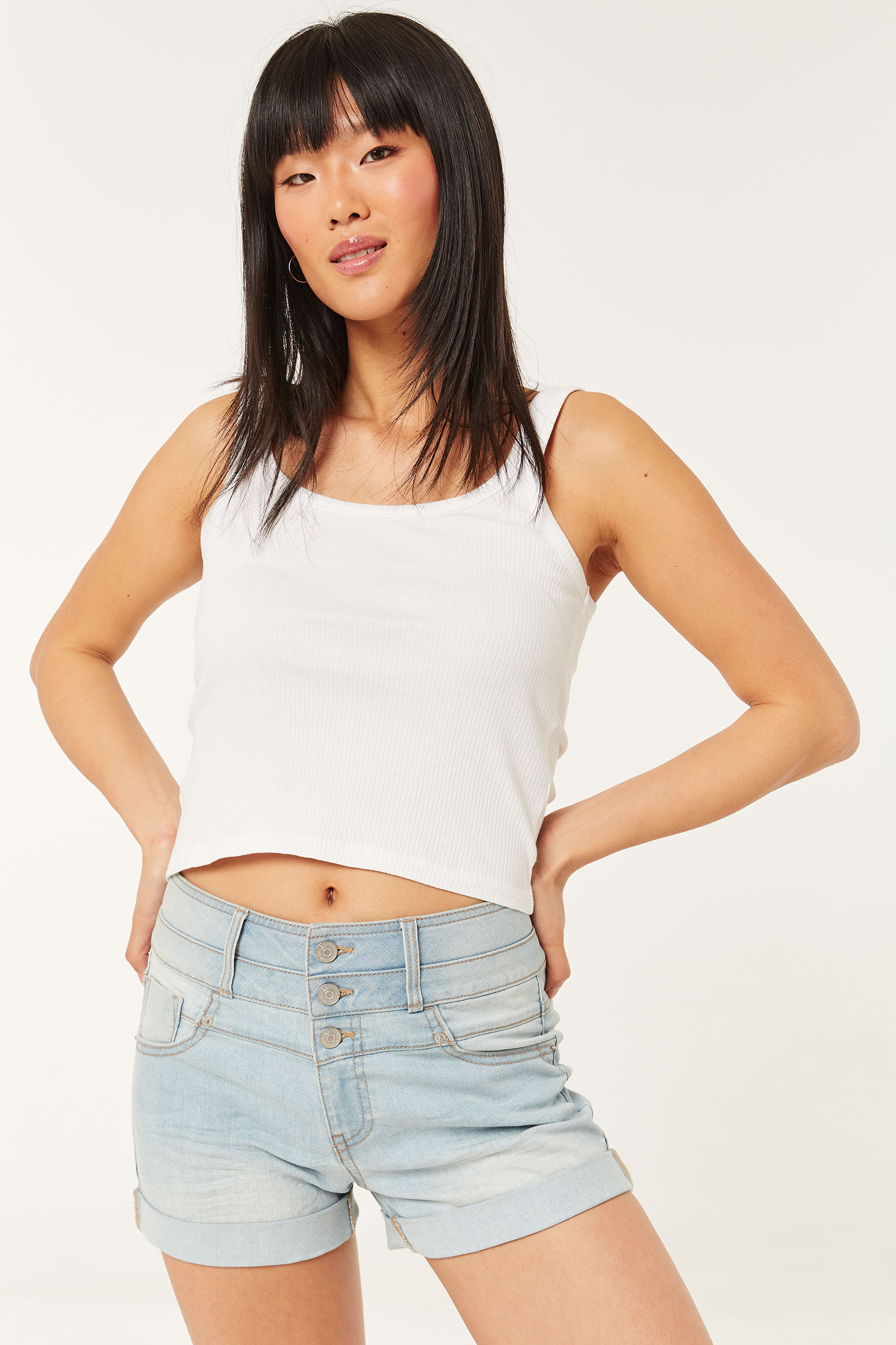 Recycled Buttoned High Rise Jean Shorts