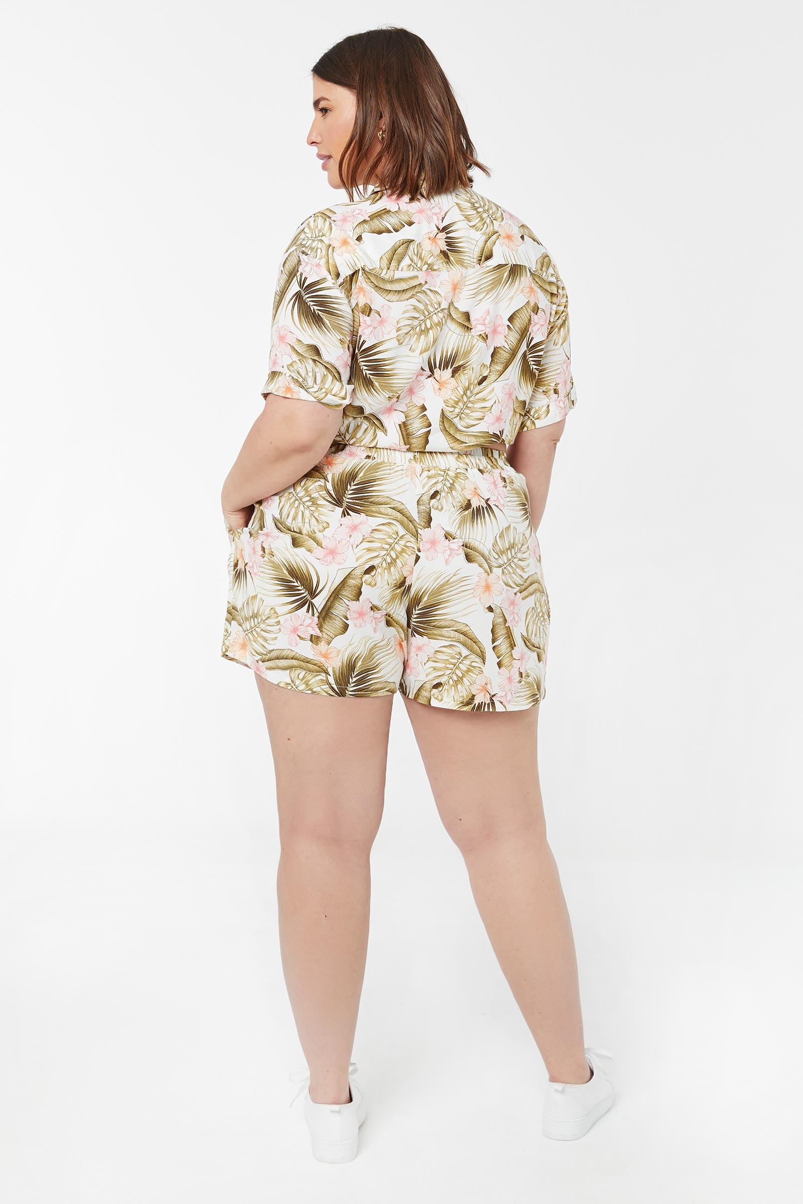 Plus Size High Rise Tropical Shorts