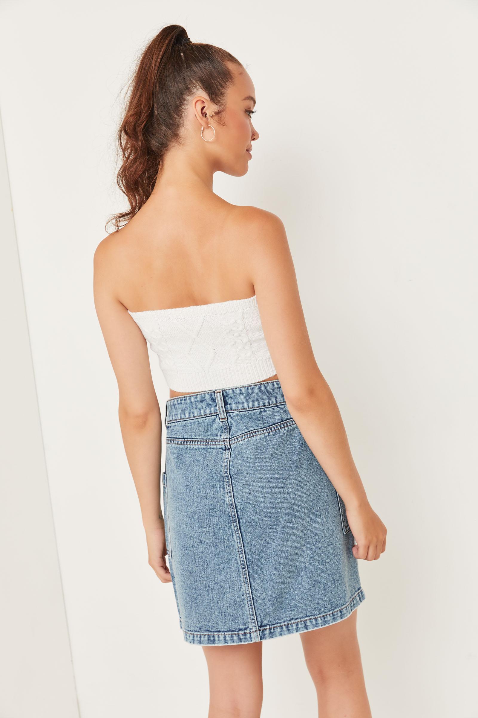 O-Ring Zip Denim Skirt