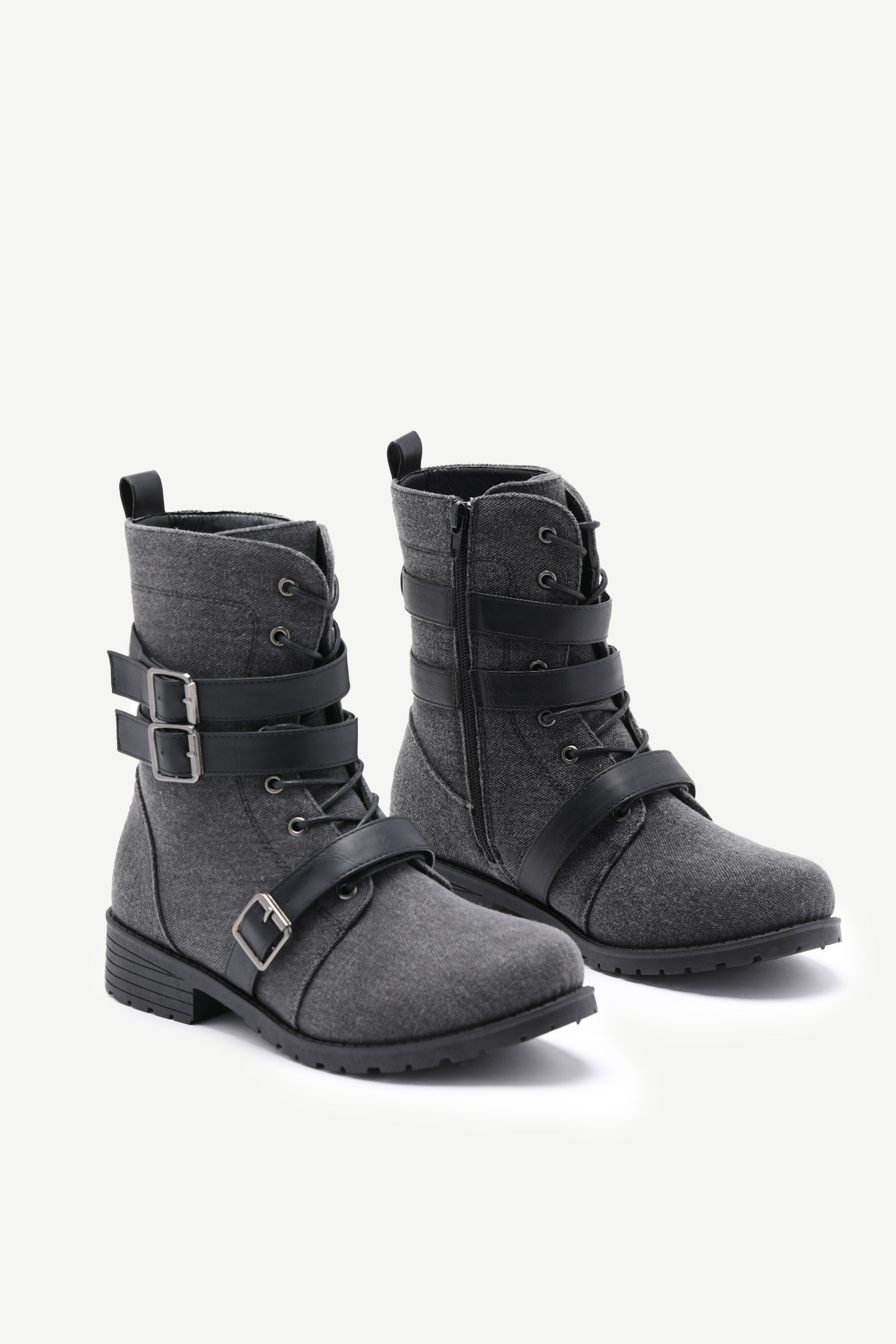 Buckled Canvas Combat Boots