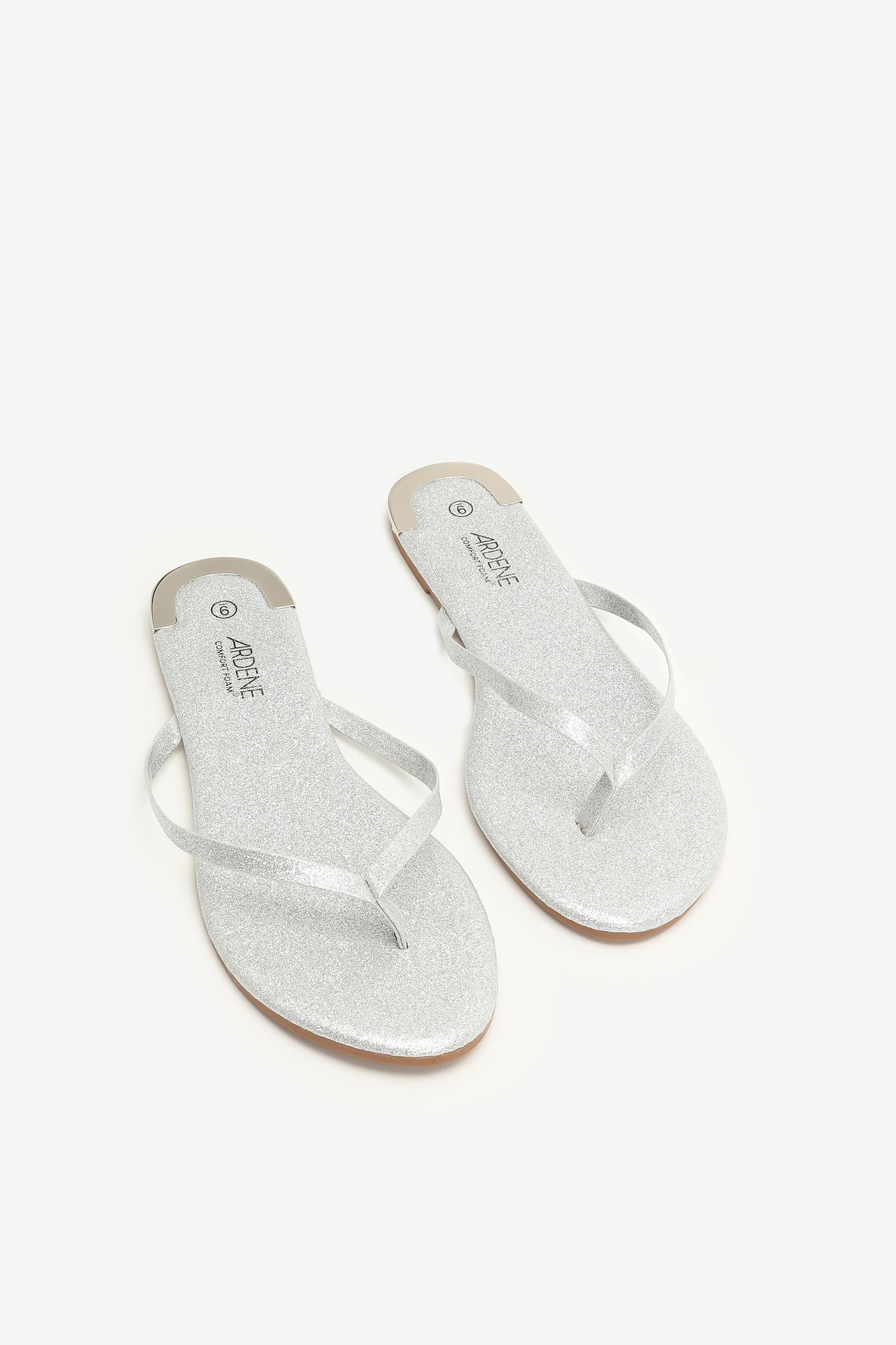 Glitter Faux Leather Flip-Flops