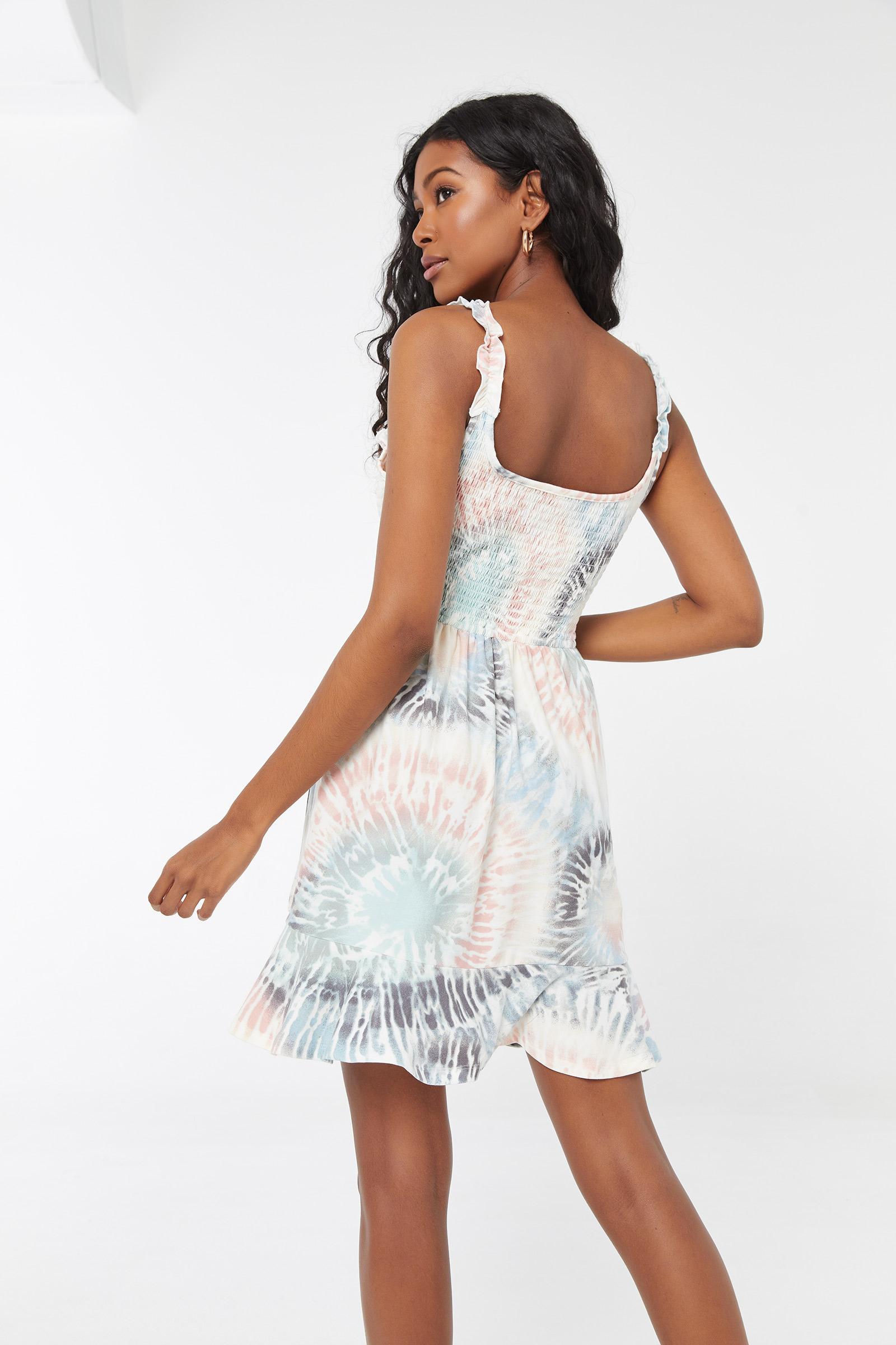 Smocked Tie-Dye Mini Dress
