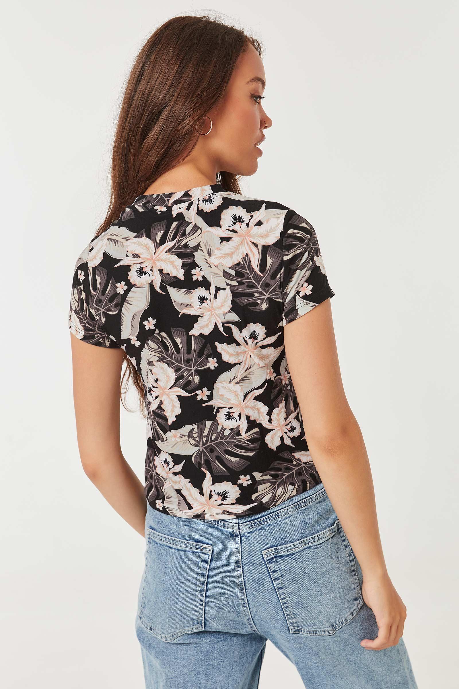 T-shirt court à manchettes tropical