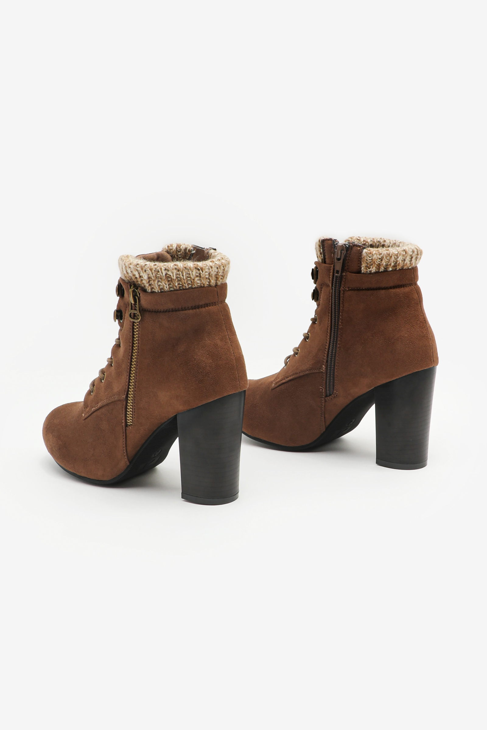 Bloc Heel Boots with Knit Collar