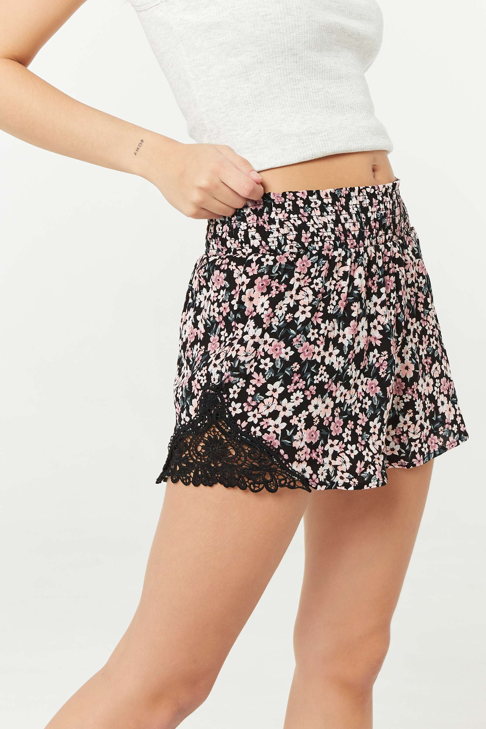 High Rise Smocked Shorts