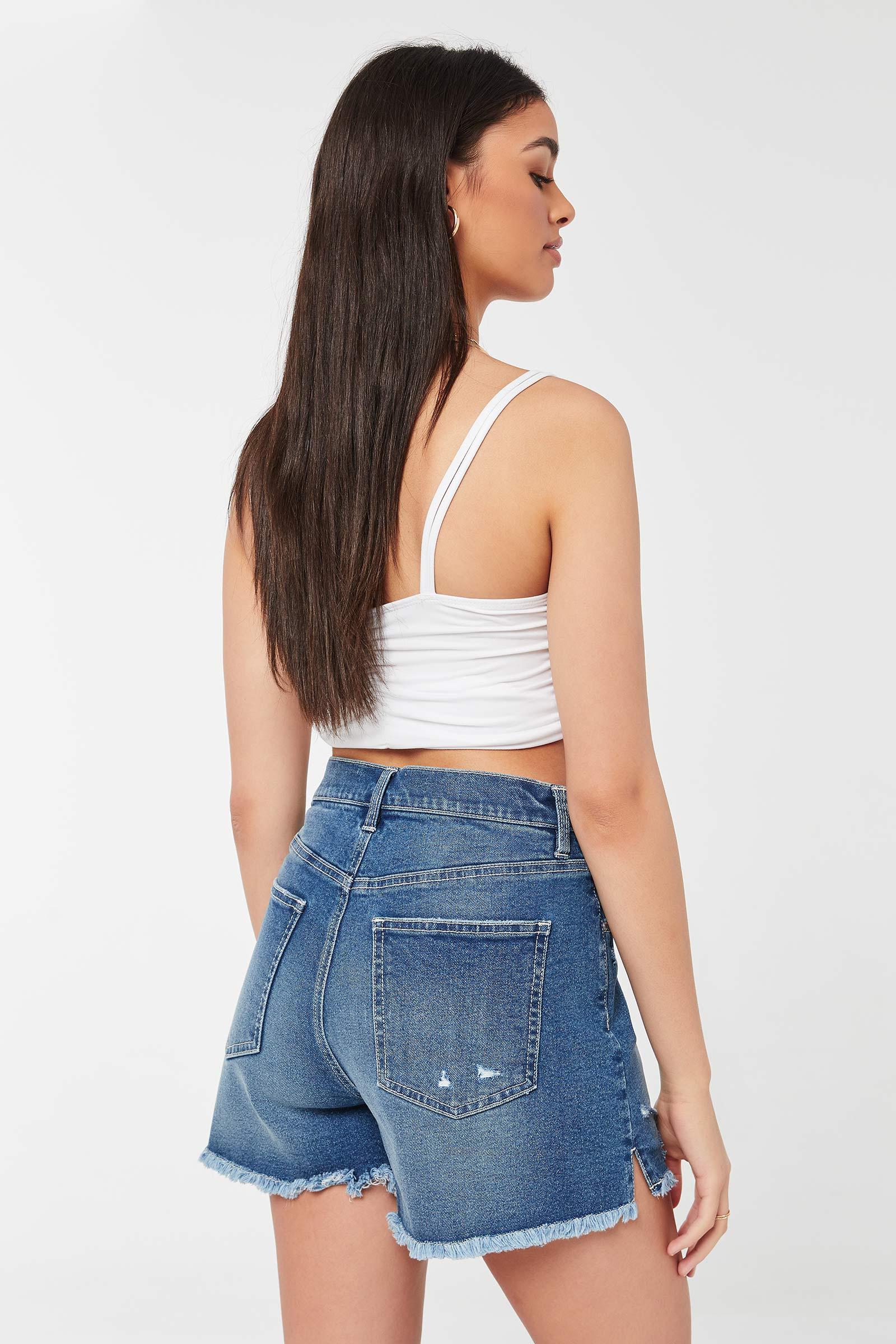 Ripped Edge Jean Shorts