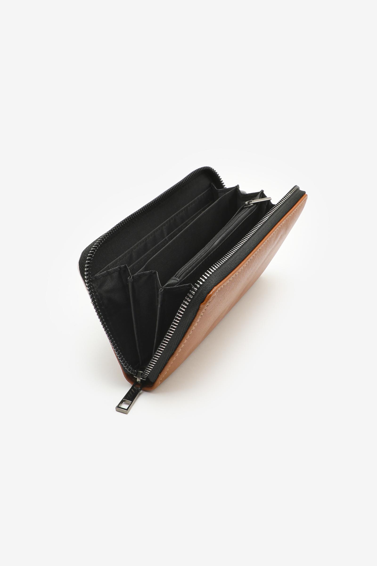 Colorblock Double Front Zipper Accordion Wallet