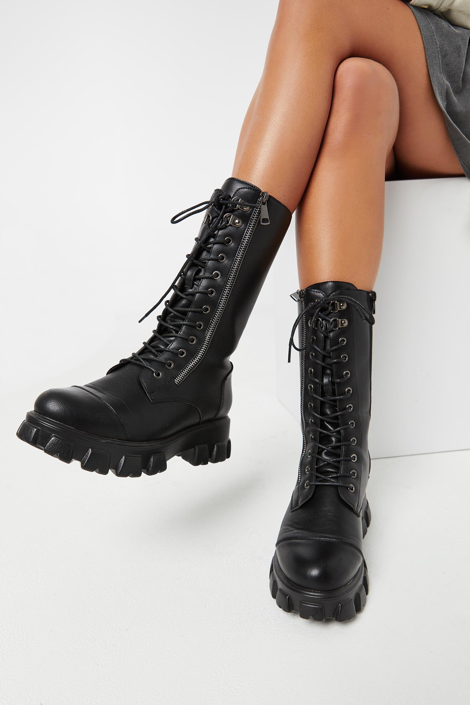 Lace-Up Boots with Chunky Lug Sole
