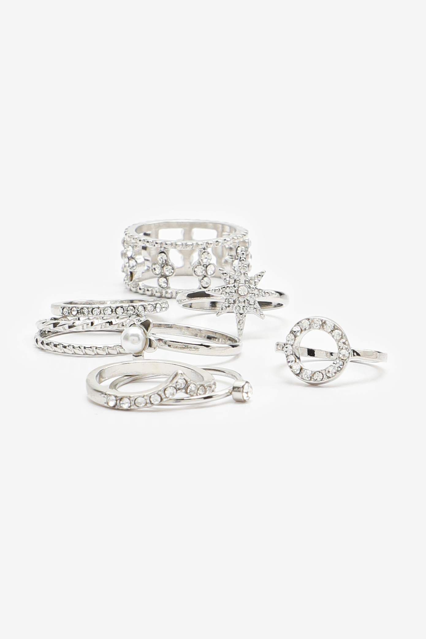 Pack of Assorted Silver Rings