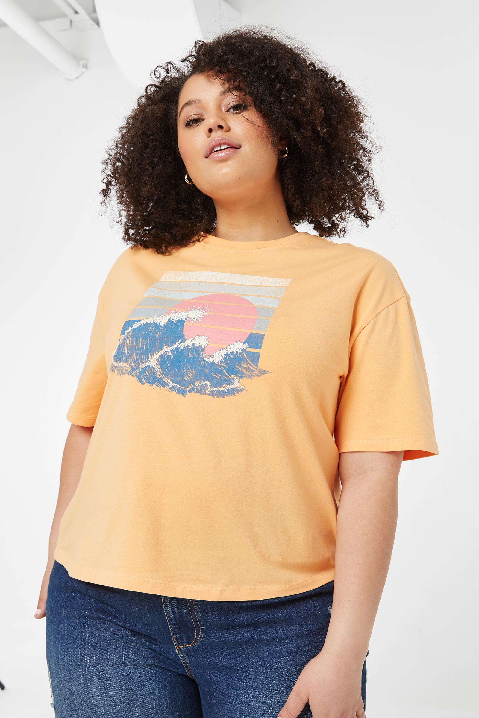 Plus Size Eco-Conscious Cropped Graphic Tee