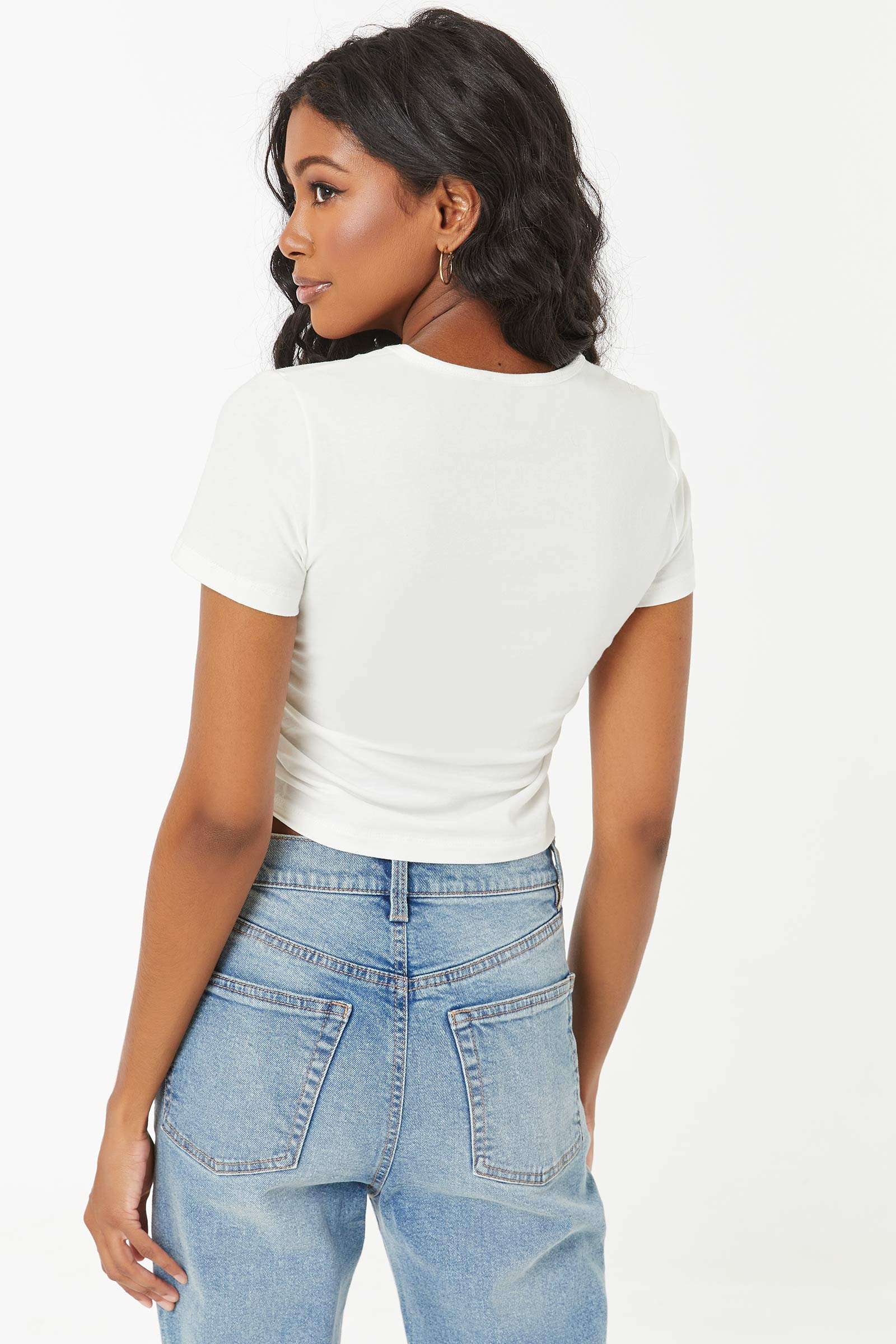 Cropped Ruched Side Tee