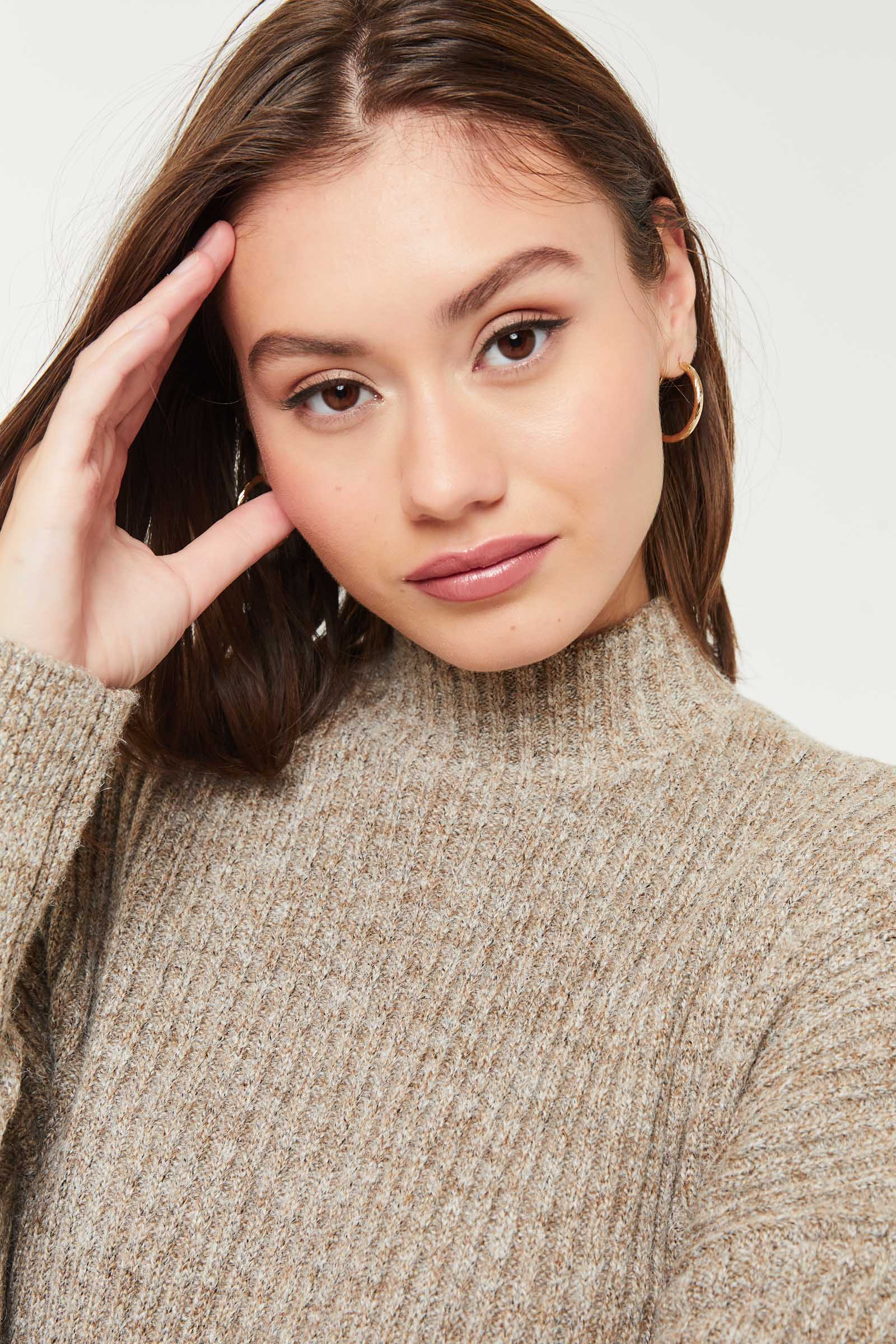Long Mock Neck Sweater with Side Slits