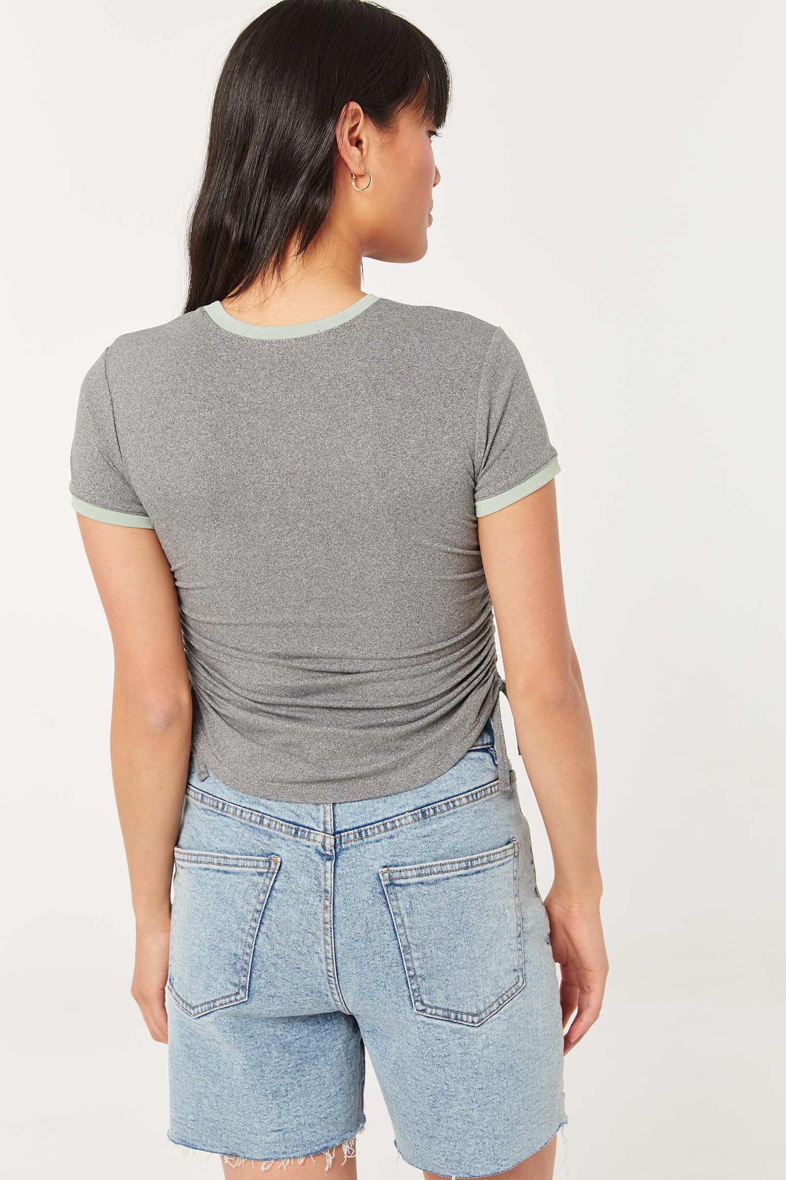 Yin-Yang T-shirt with Side Ruching