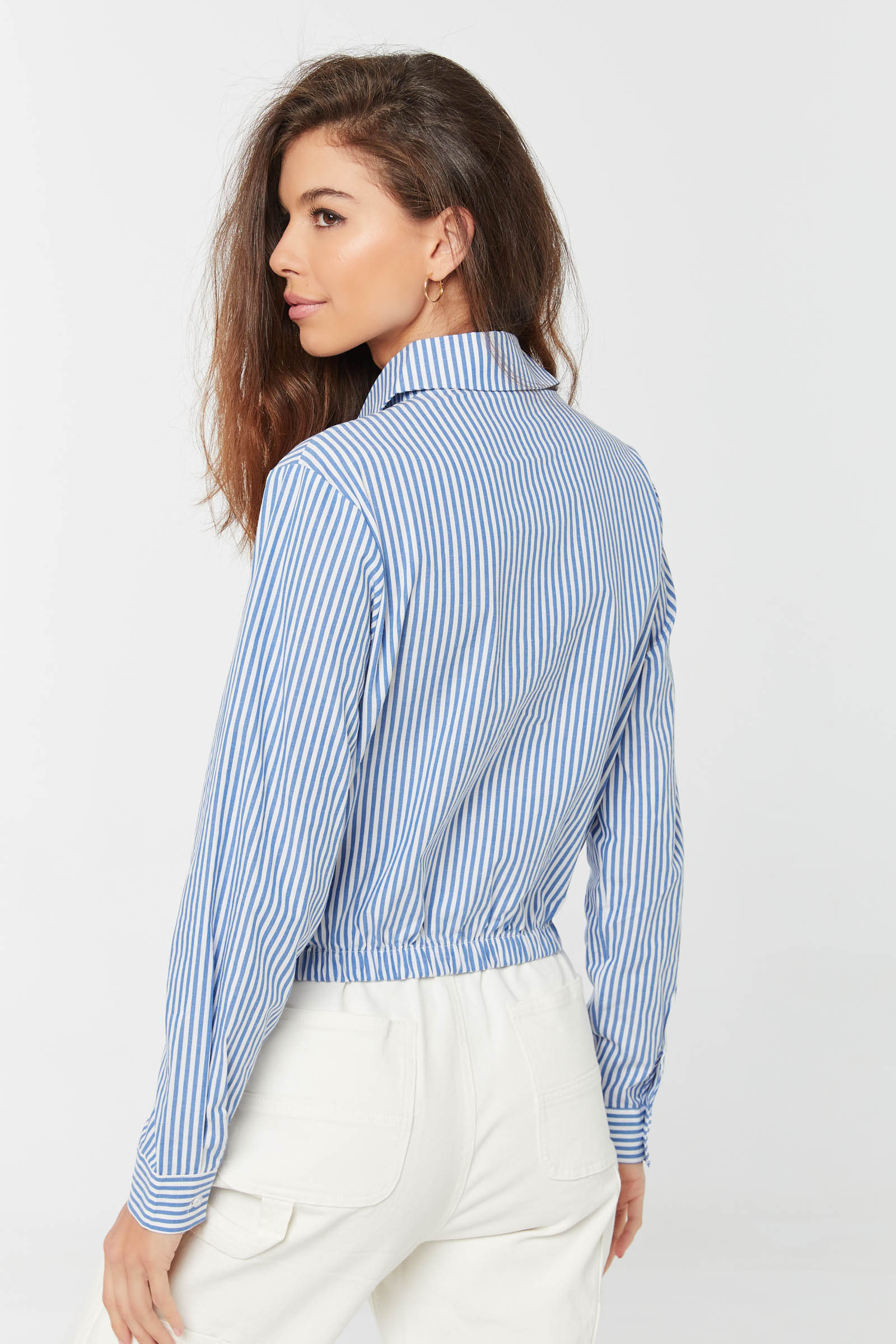 Poplin Shirt with Elastic Hem