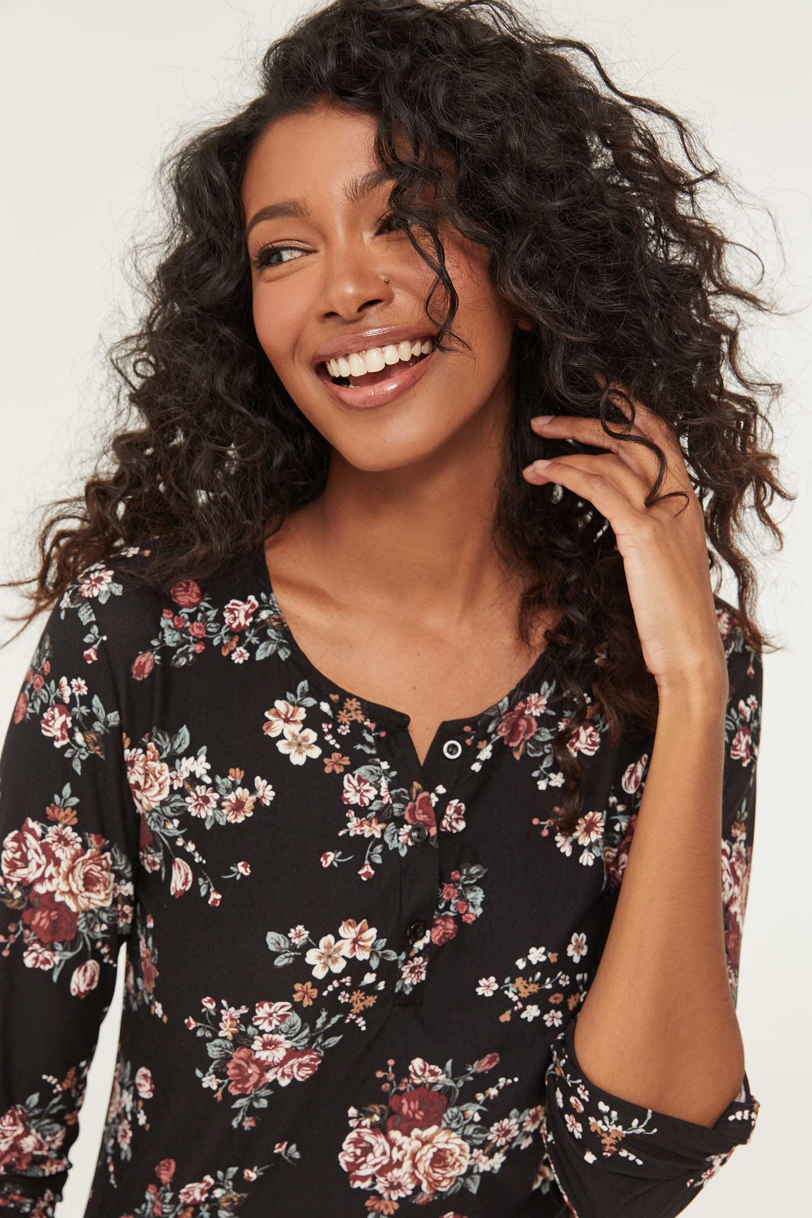 High-Low Super Soft Floral Shirt