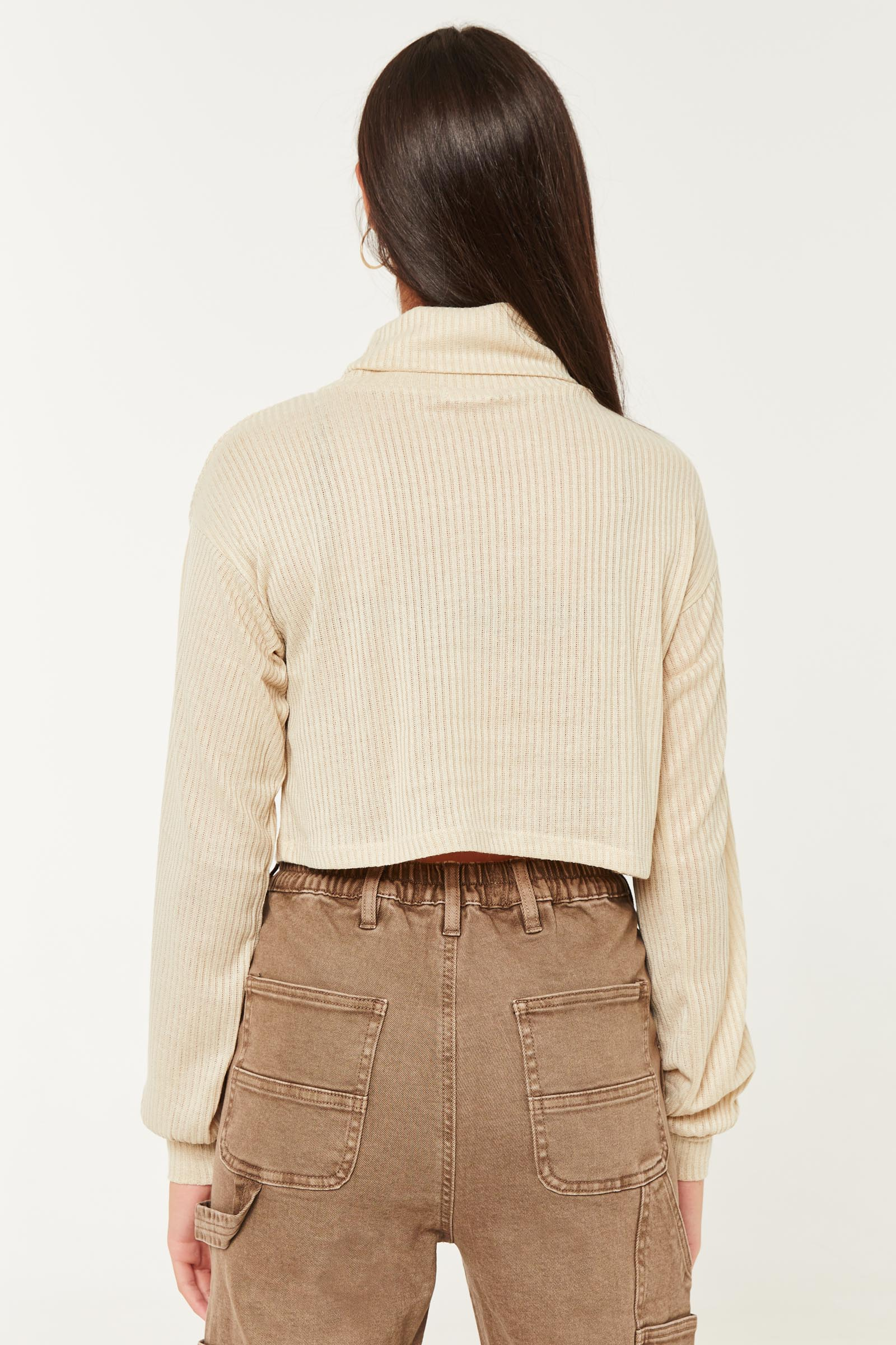 Bubble Sleeve Crop Sweater