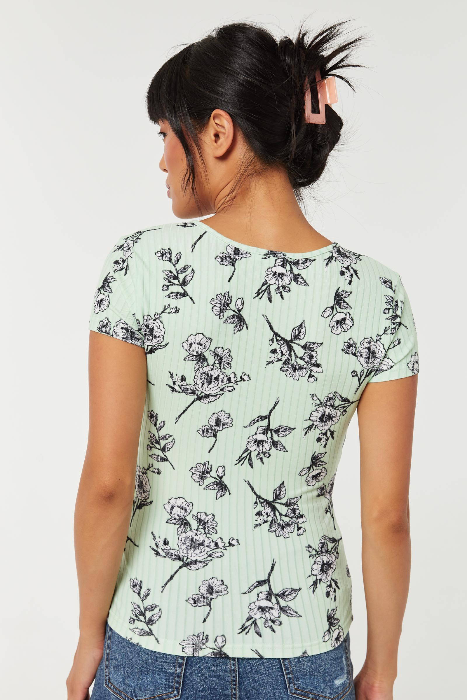 Floral Lace-Up Ribbed Tee