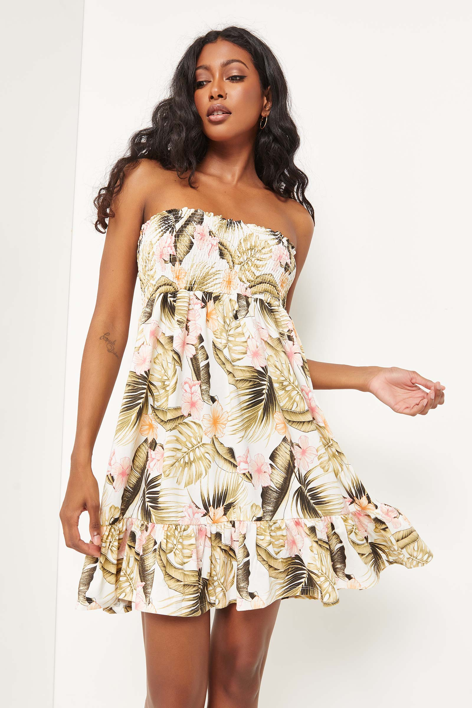 Smocked Stripe Midi Skirt