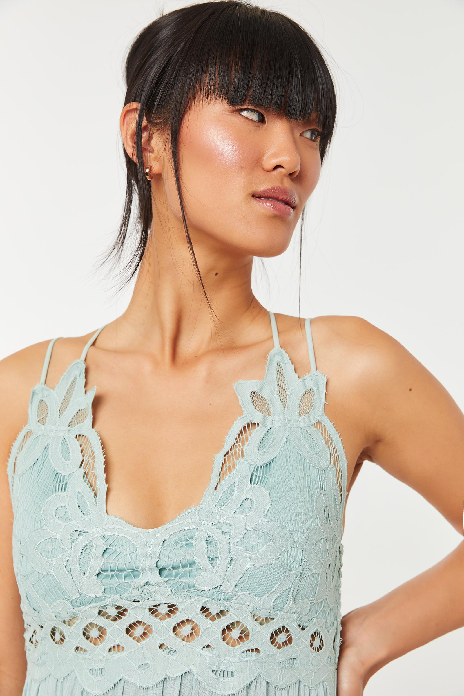 Flounce Dress with Pineapple Lace Bralette