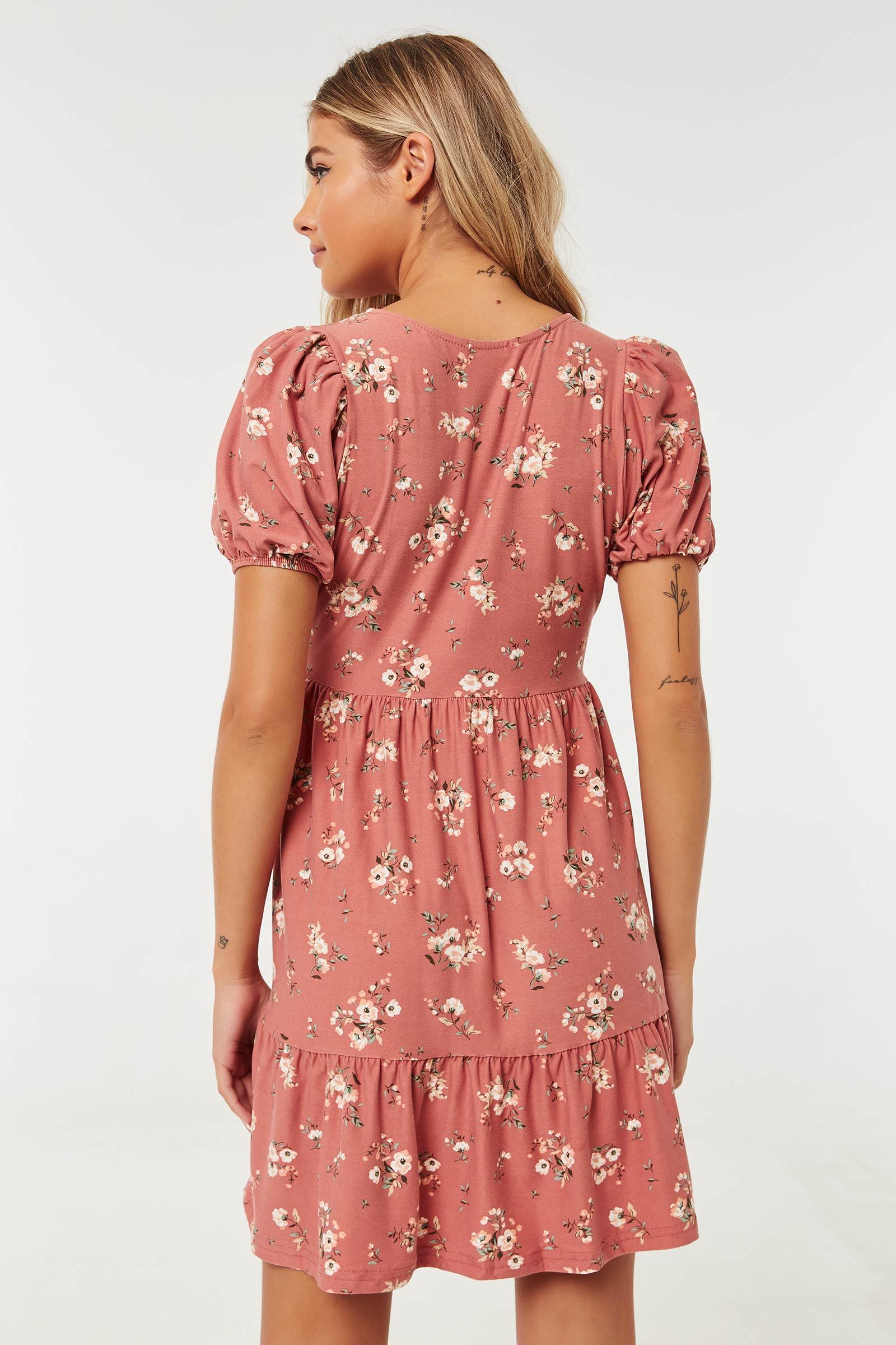 Floral Mini Faux Wrap Dress