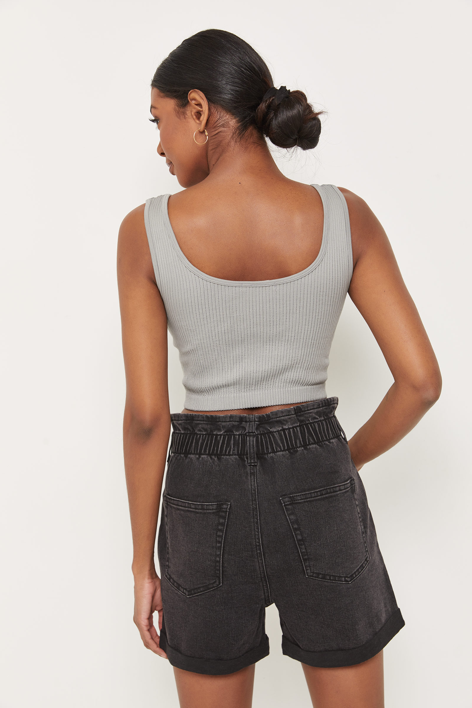 Ruched Paper Bag Jean Shorts