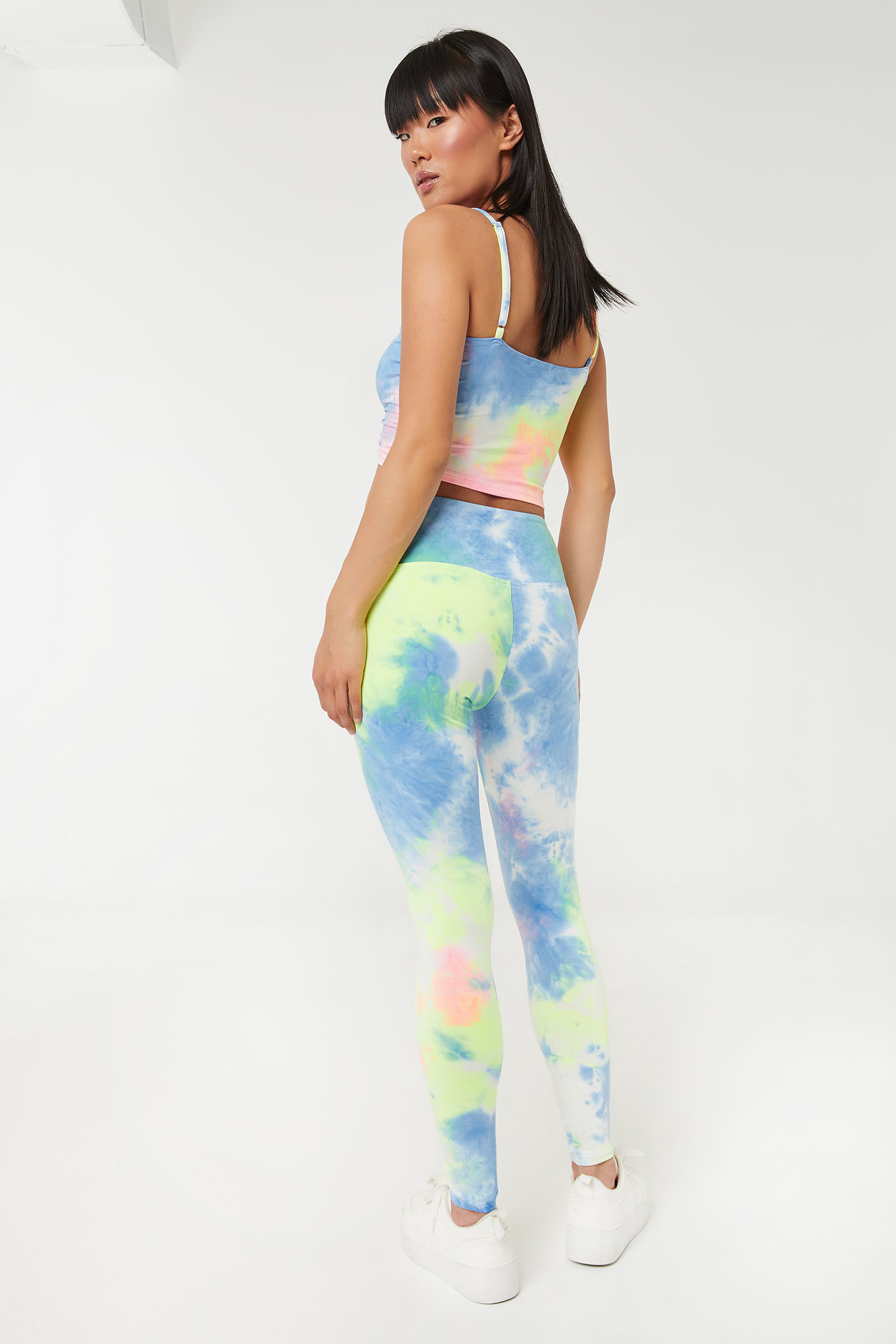 Tie-Dye Drawstring Leggings with Ruched Front