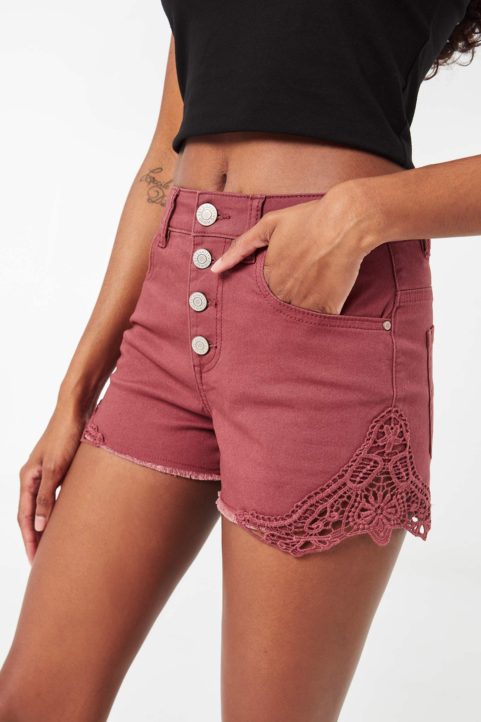 High Rise Shorts with Crochet