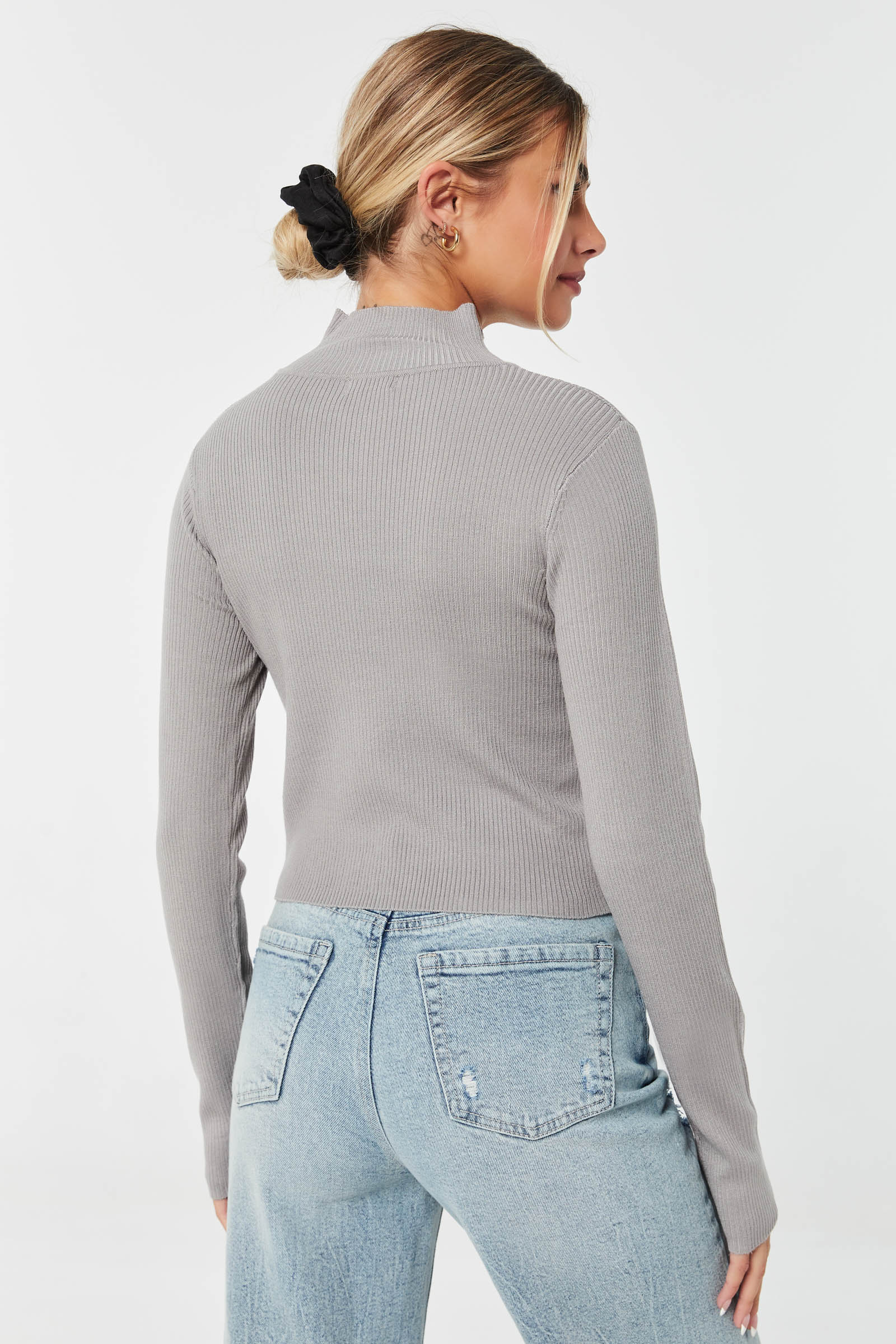 Mock Neck Fitted Sweater