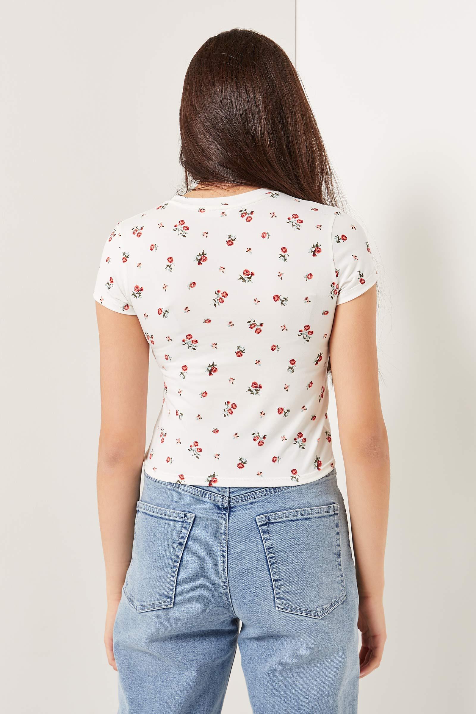 T-shirt fleuri doux