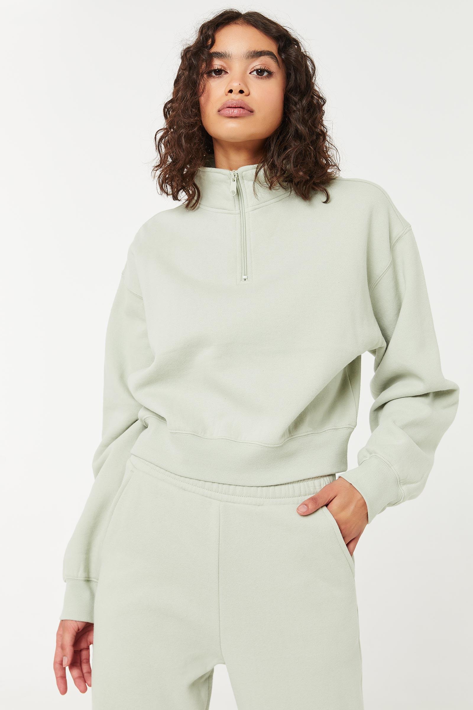 Half-Zip Mock Neck Sweatshirt