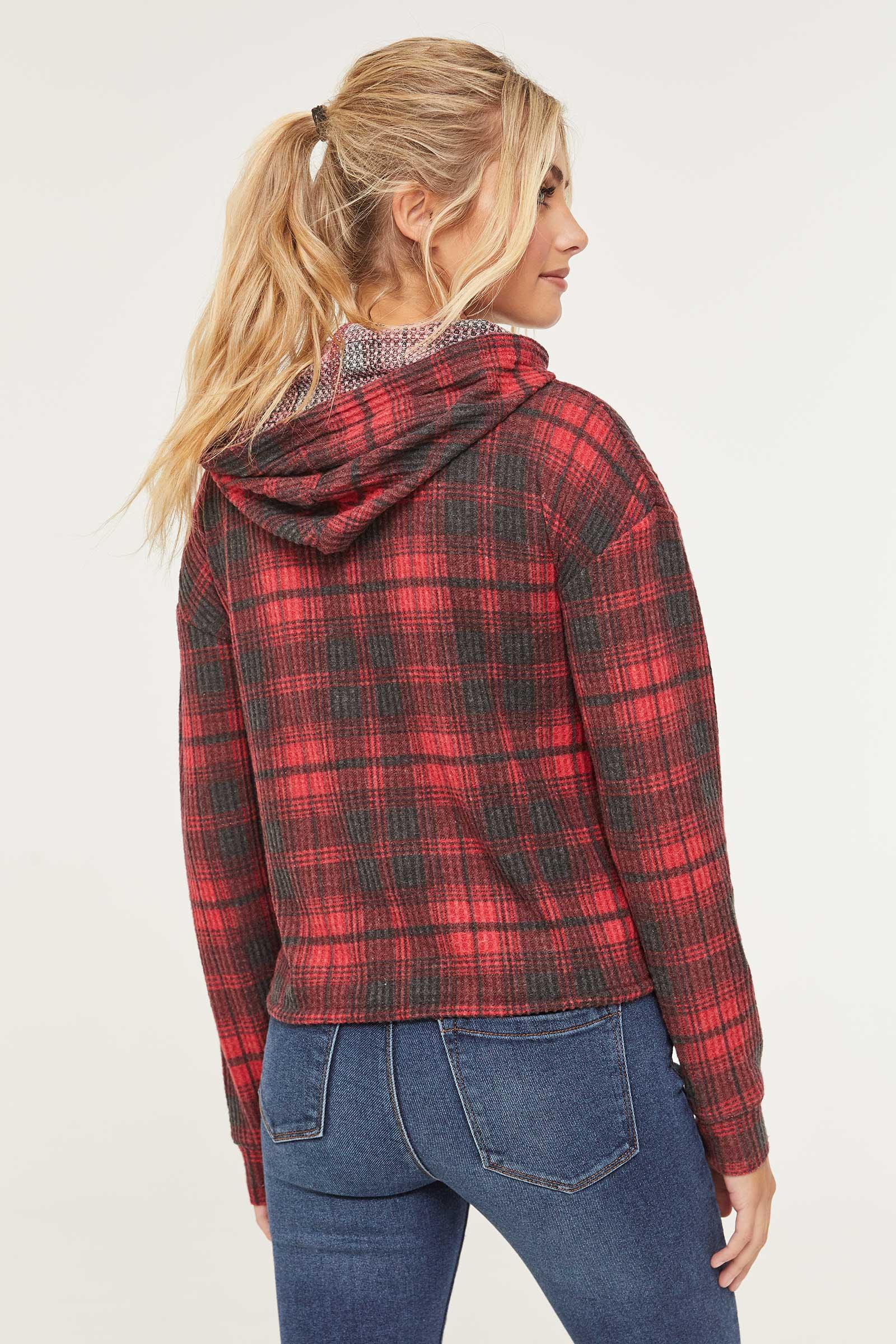 Molleton à capuchon à carreaux en tricot gaufré
