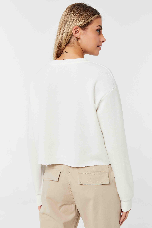 Fleece Henley Cropped Sweatshirt