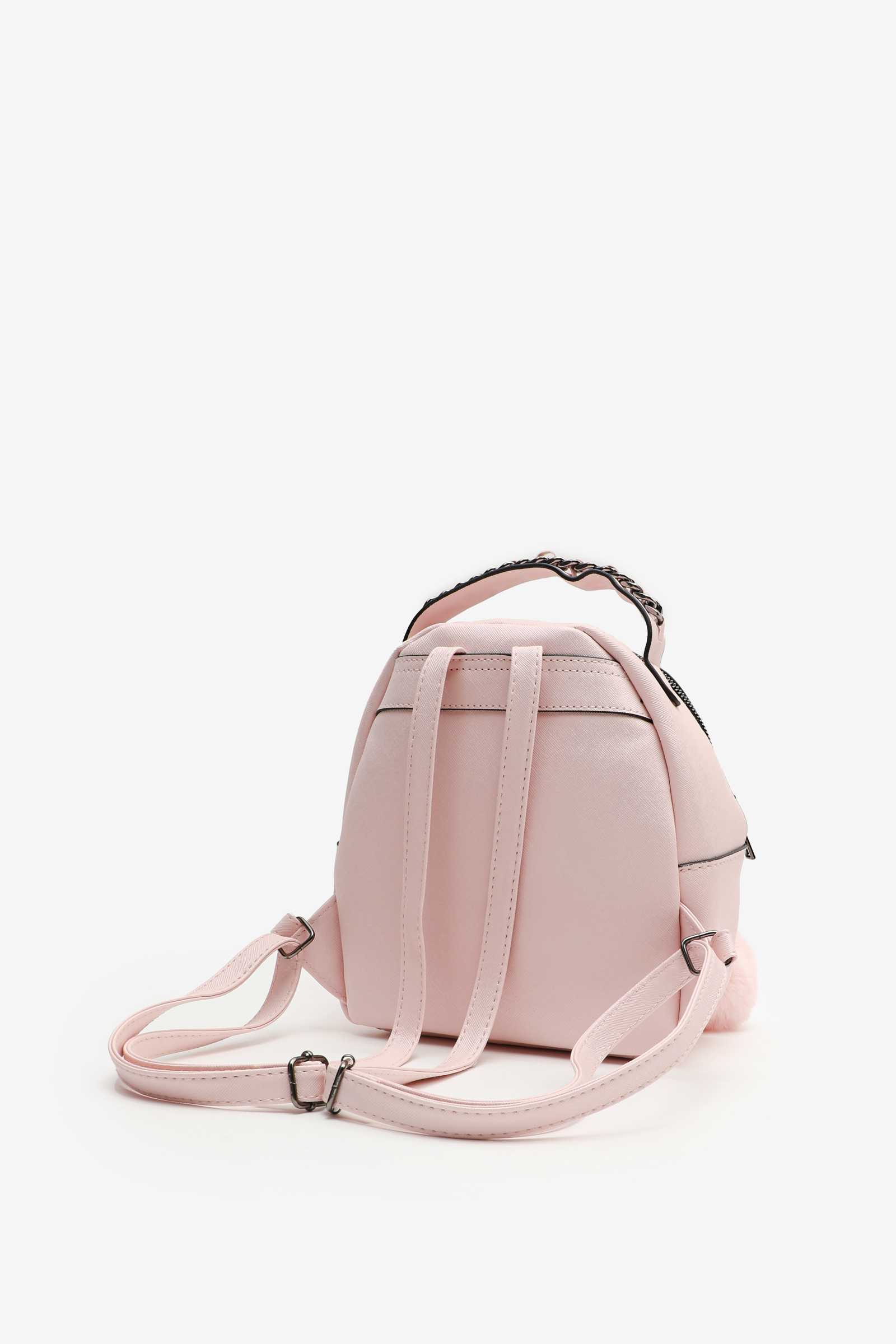 Faux Leather Backpack with Pompom