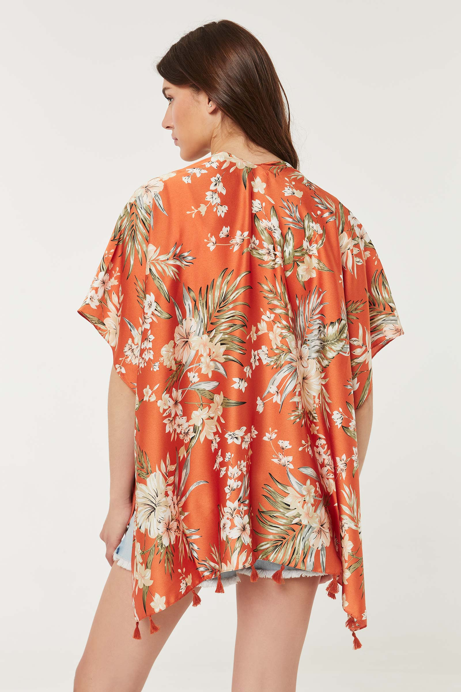 Floral Kimono with Tassels